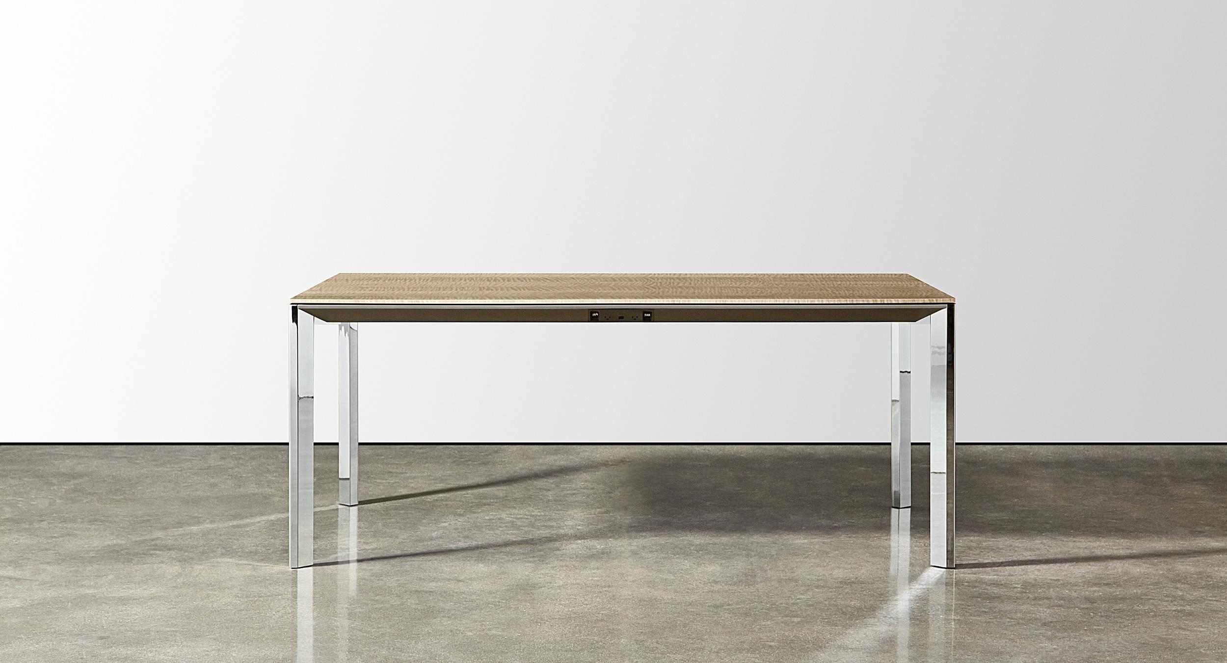 Halo 'Parsons' style table with a stunning polished chrome base.