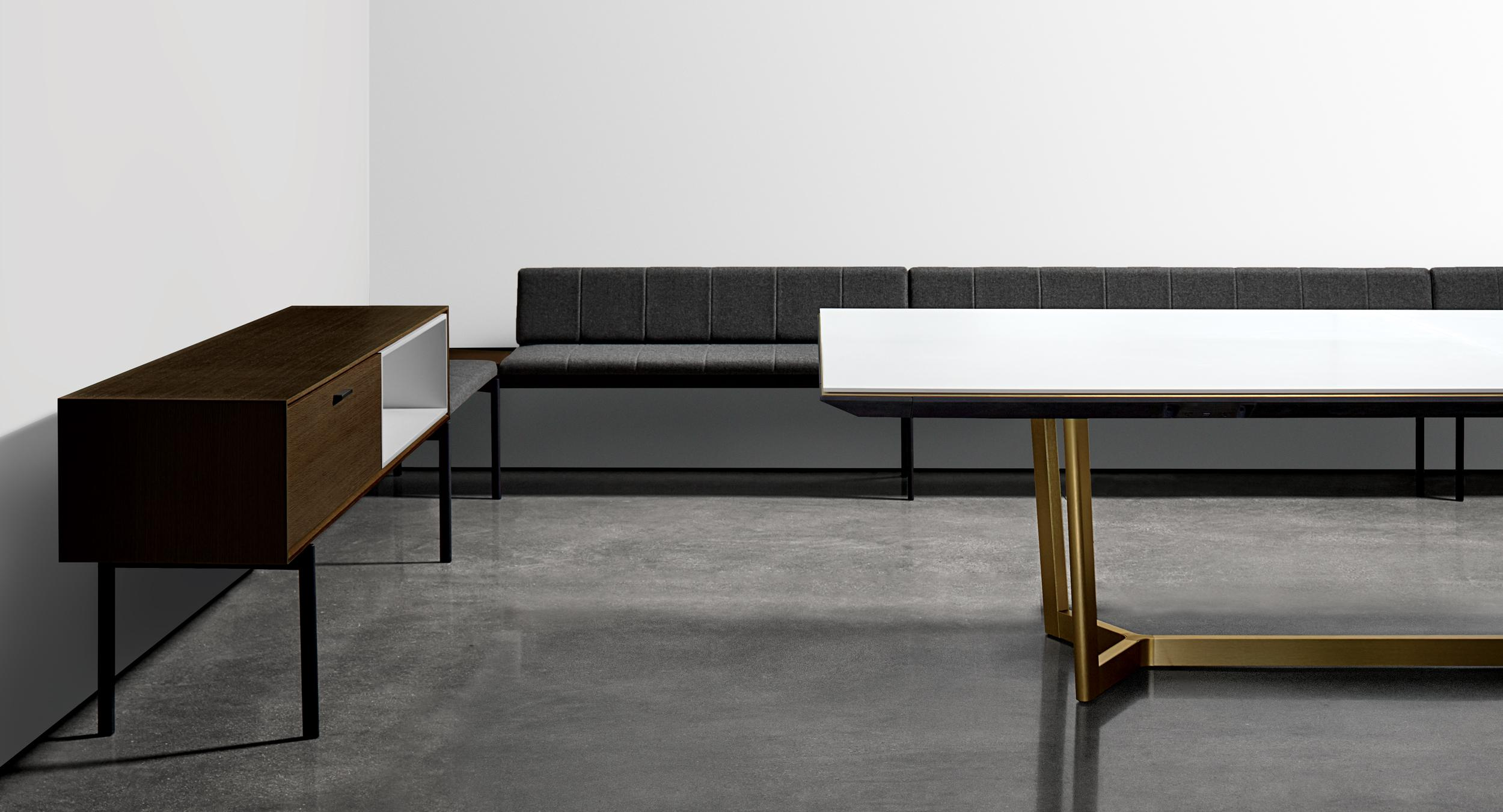 Stunning tables encircled by the revolutionary HALO soft edge; providing protection for table and chair while delivering vital connectivity. Seating and Modern sideboard storage accommodates refrigeration, cutlery, waste bins, glassware, and more