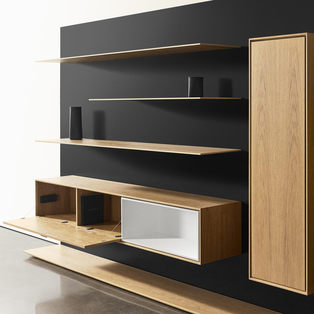 Patented, amazingly thin shelves support full loads in any wood finish.