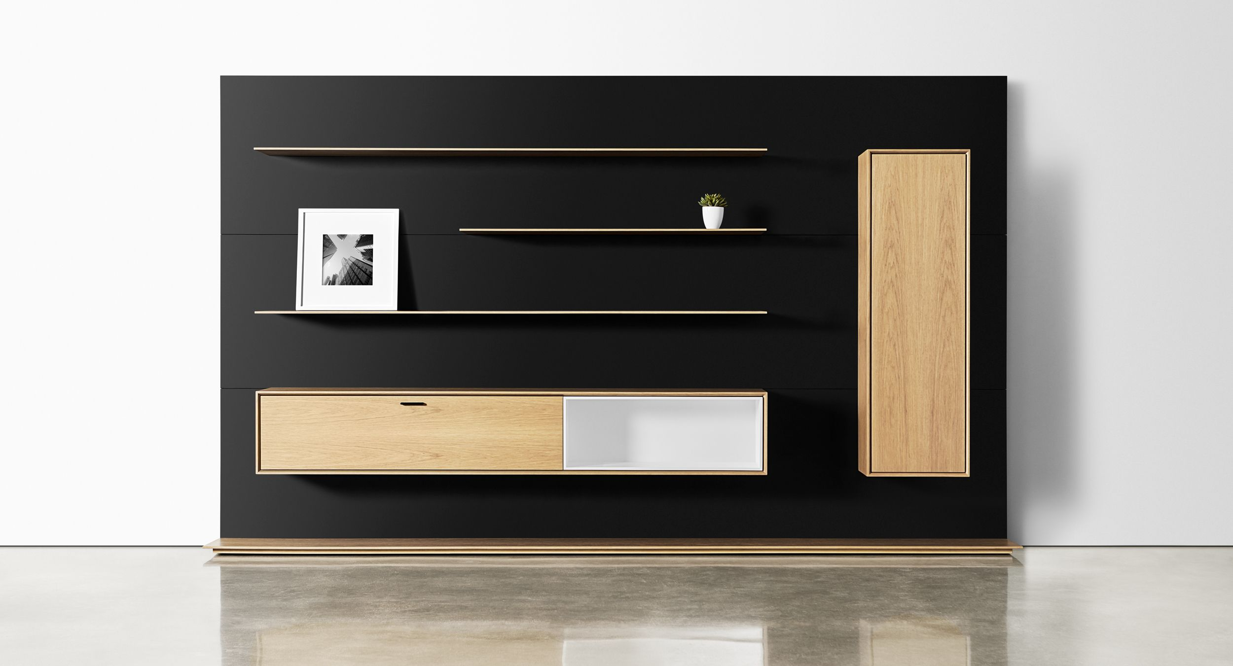 An executive workwall grants useful storage in light, beautiful scale.
