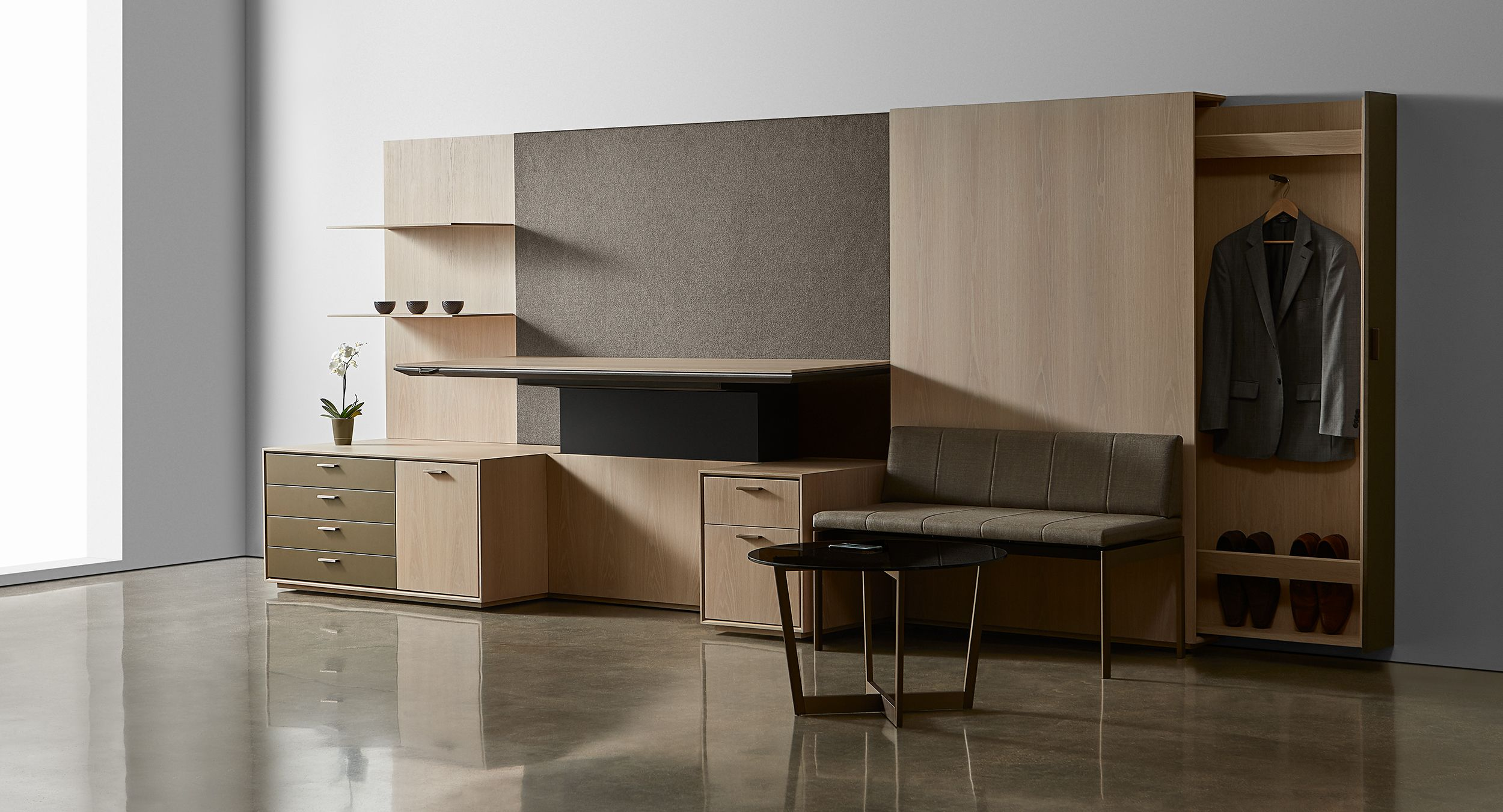 Halo's clean lines conceal an abundance of thoughtful storage options.
