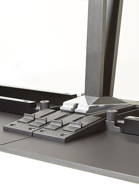 Quickly set-up and break-down table configurations with an intuitive and minimal kit-of-parts.