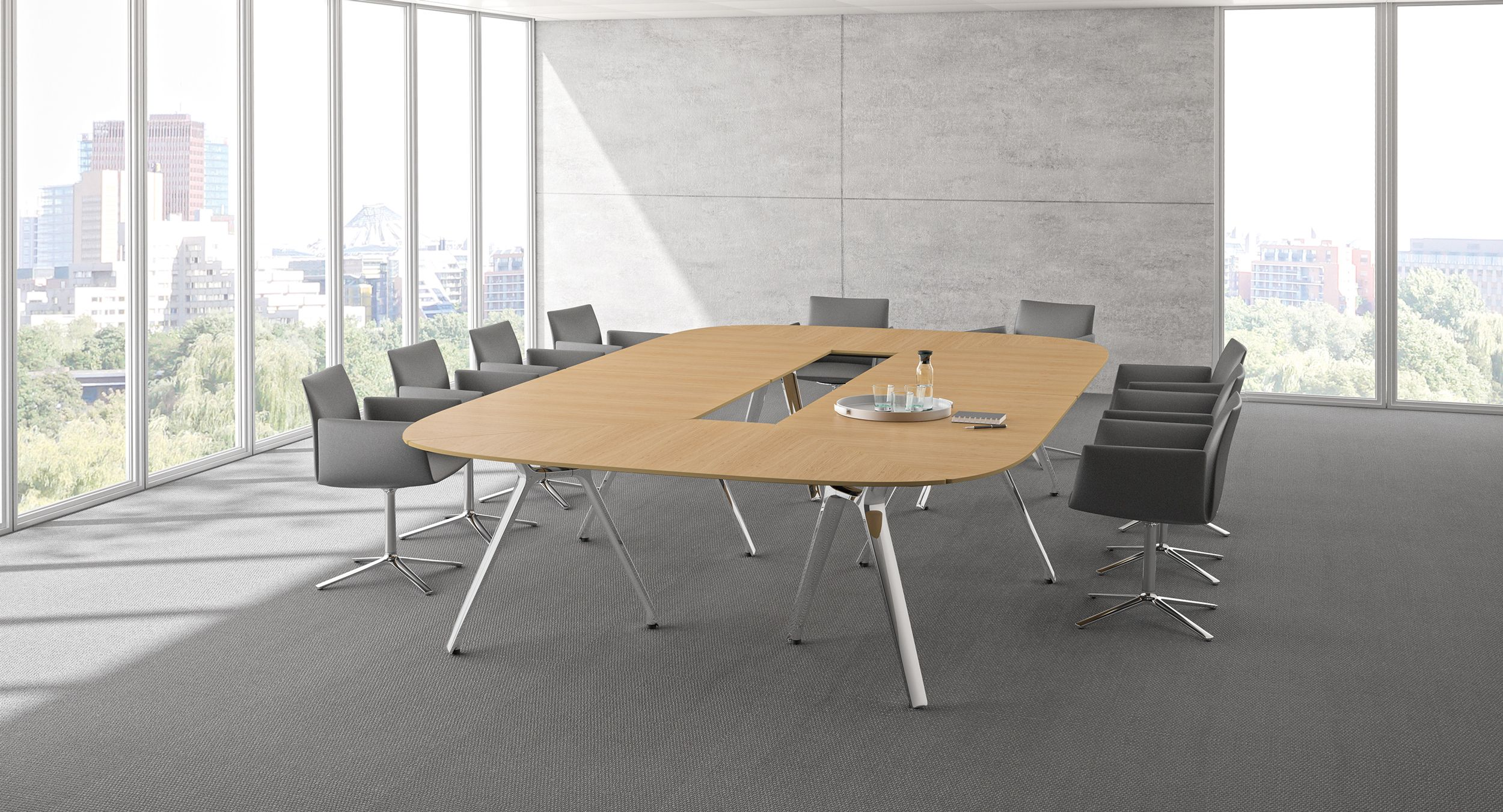STRATOS pairs modern, timeless design with a flexible, parametric system to create table solutions of any size and shape.