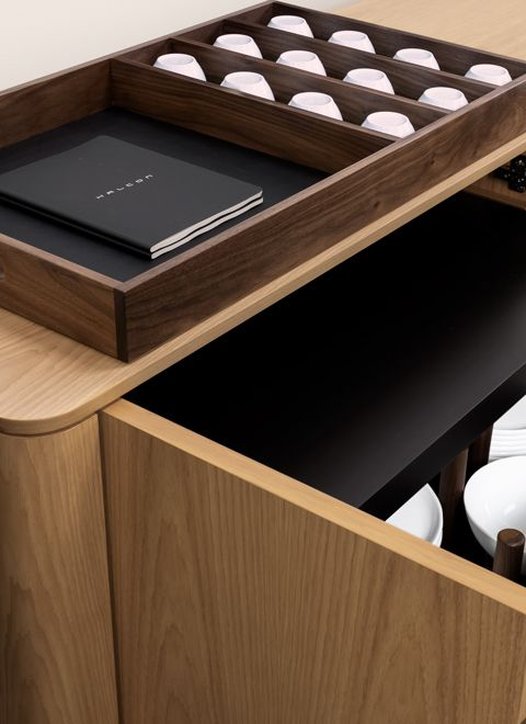 Sideboards conceal an abundance of thoughtful storage options.