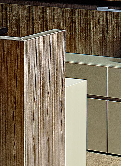 Innovative veneer matching allows the grain match to flow perfectly down both sides of Foundry panels.