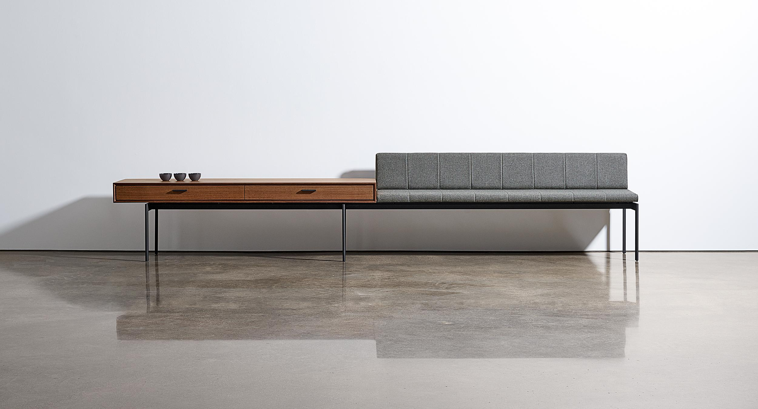 Halo seamlessly integrates gallery seating with storage elements.