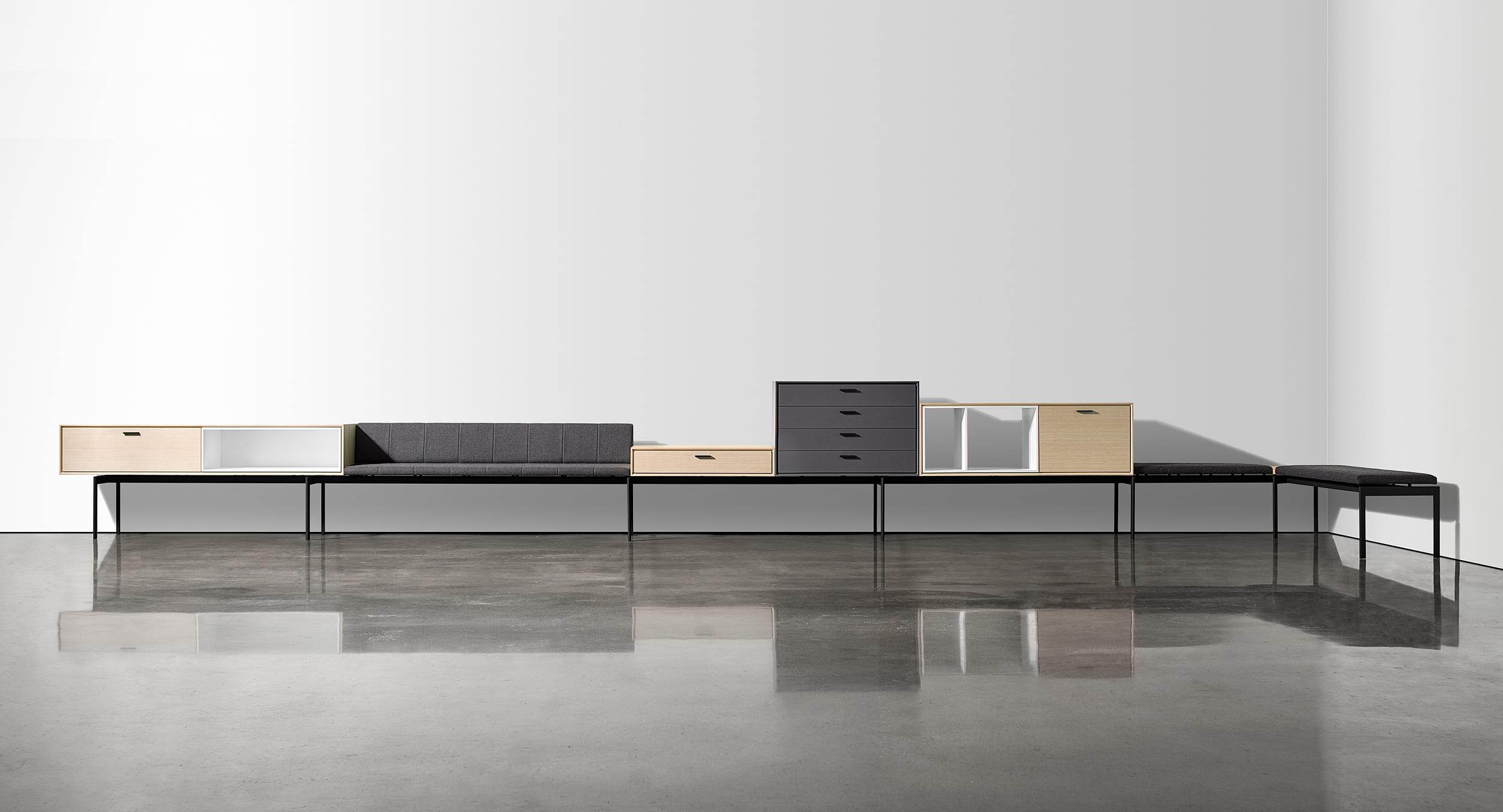 Halo's modular platform seamlessly integrates gallery seating with sophisticated storage elements.