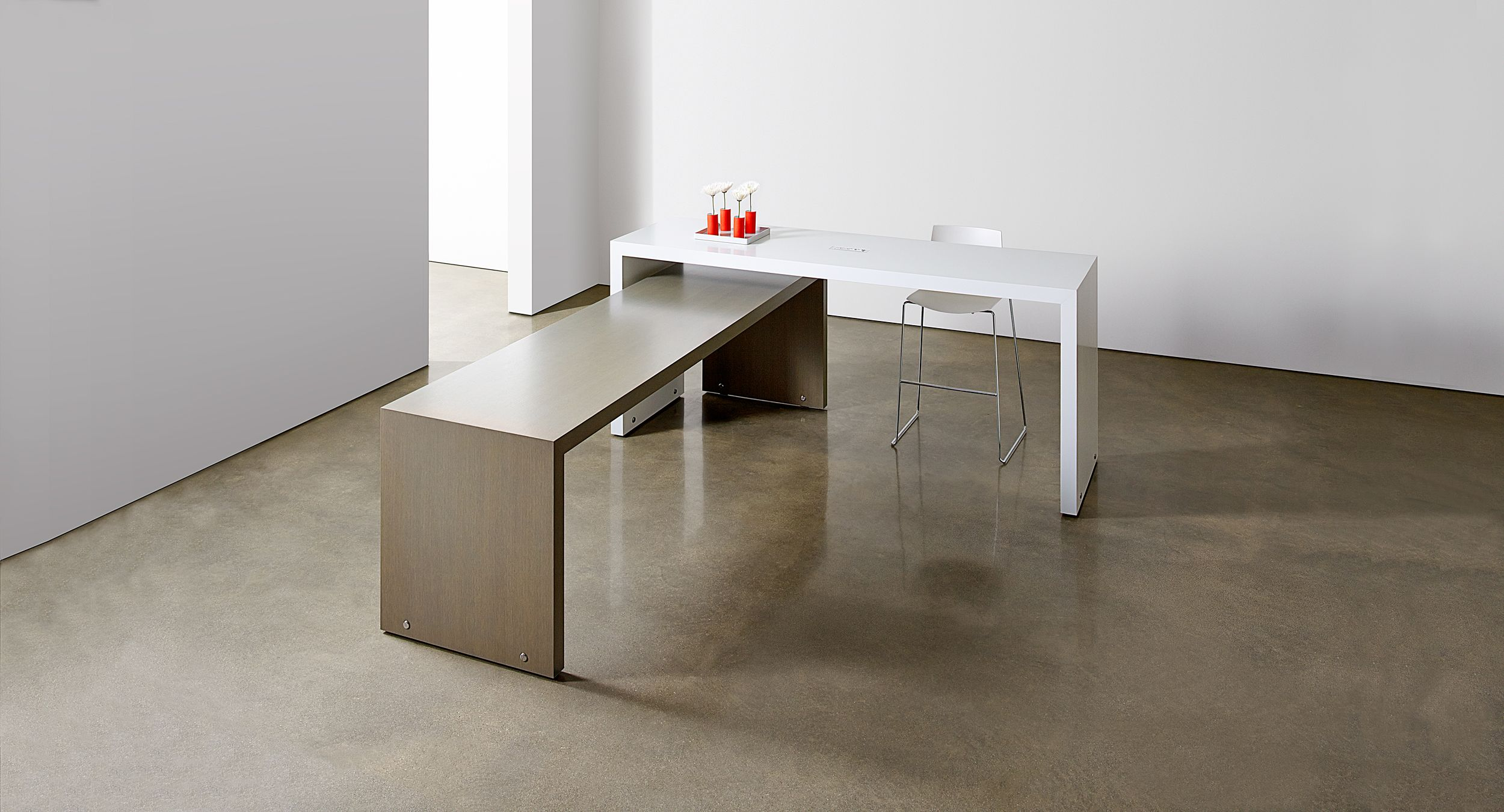 Mix bar and counter-height mobile tables to achieve a truly dynamic space.