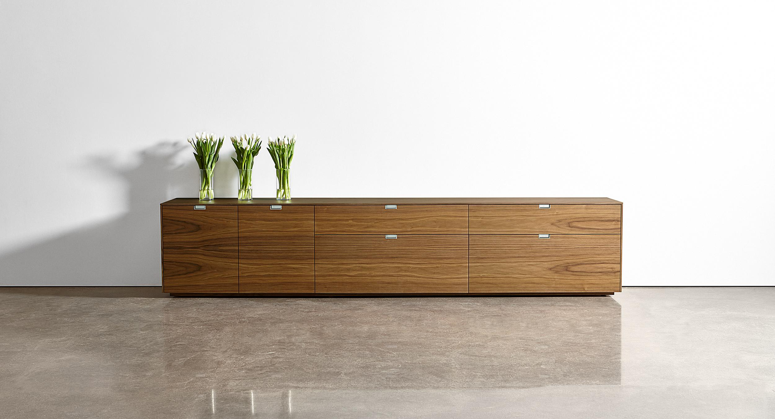 LEX storage credenzas can be specified in any size, shape, material, and finish.