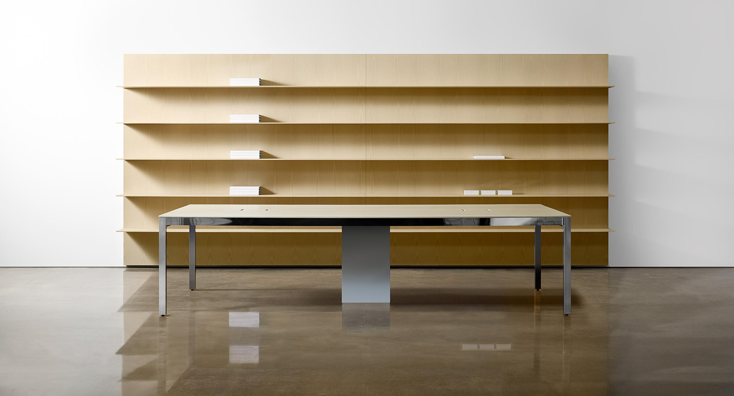 Our patent-pending Lex shelving system perfectly complements Lex conference tables.