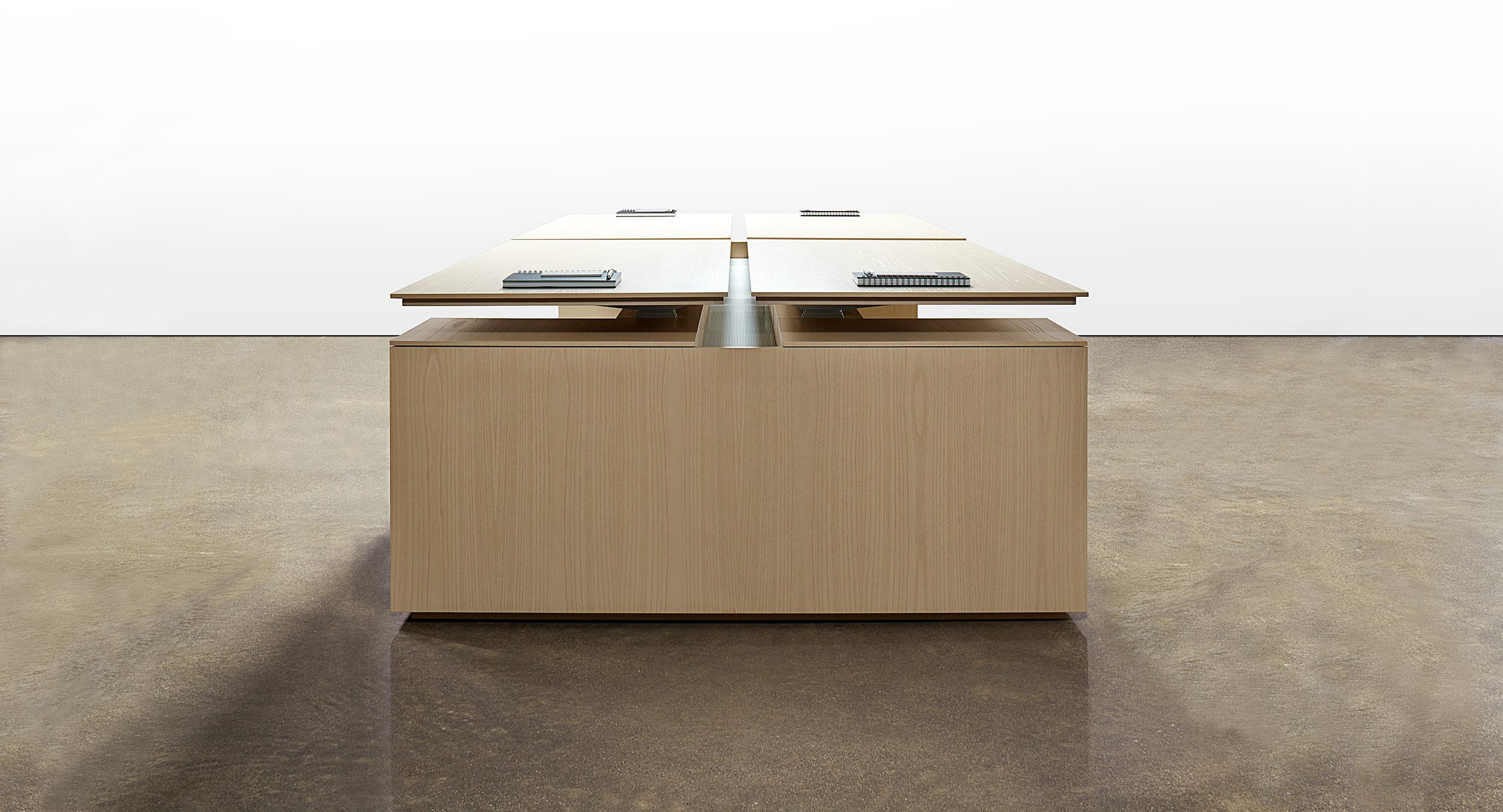 Extend beautiful casework into the open office environment with adjustable-height LEX workstations.