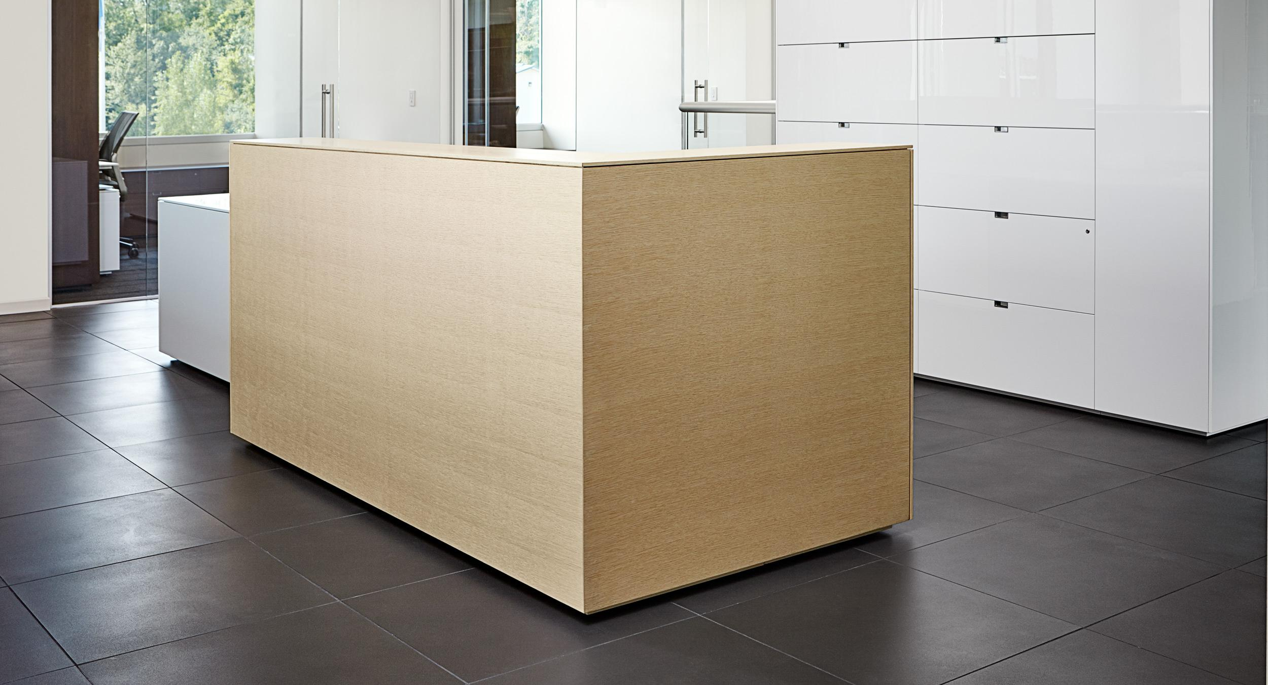 A Lex Reception Desk offers simple minimalism.