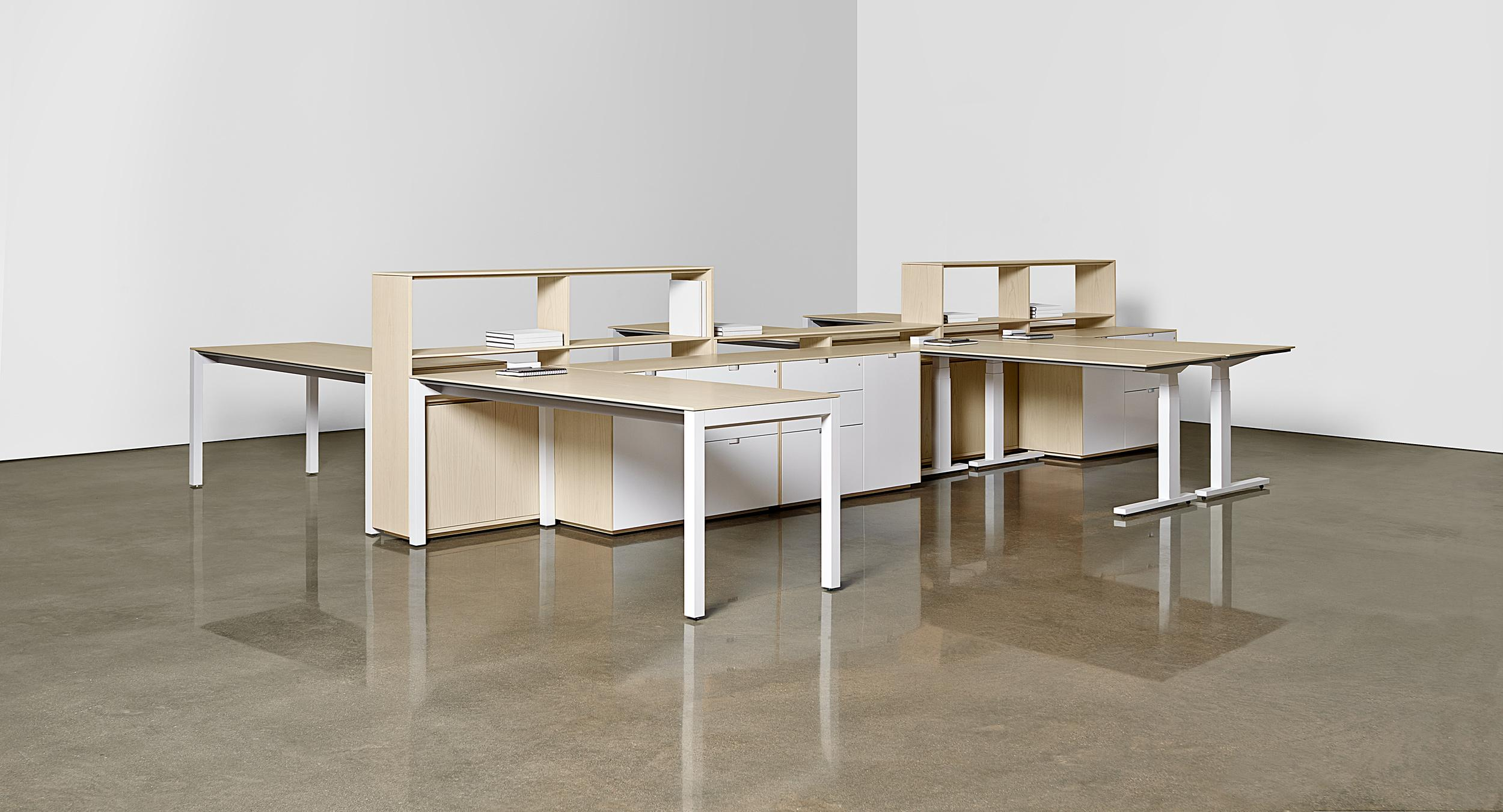A centerline storage wall delivers universal power and data technology to a workspace that can be easily reconfigured.