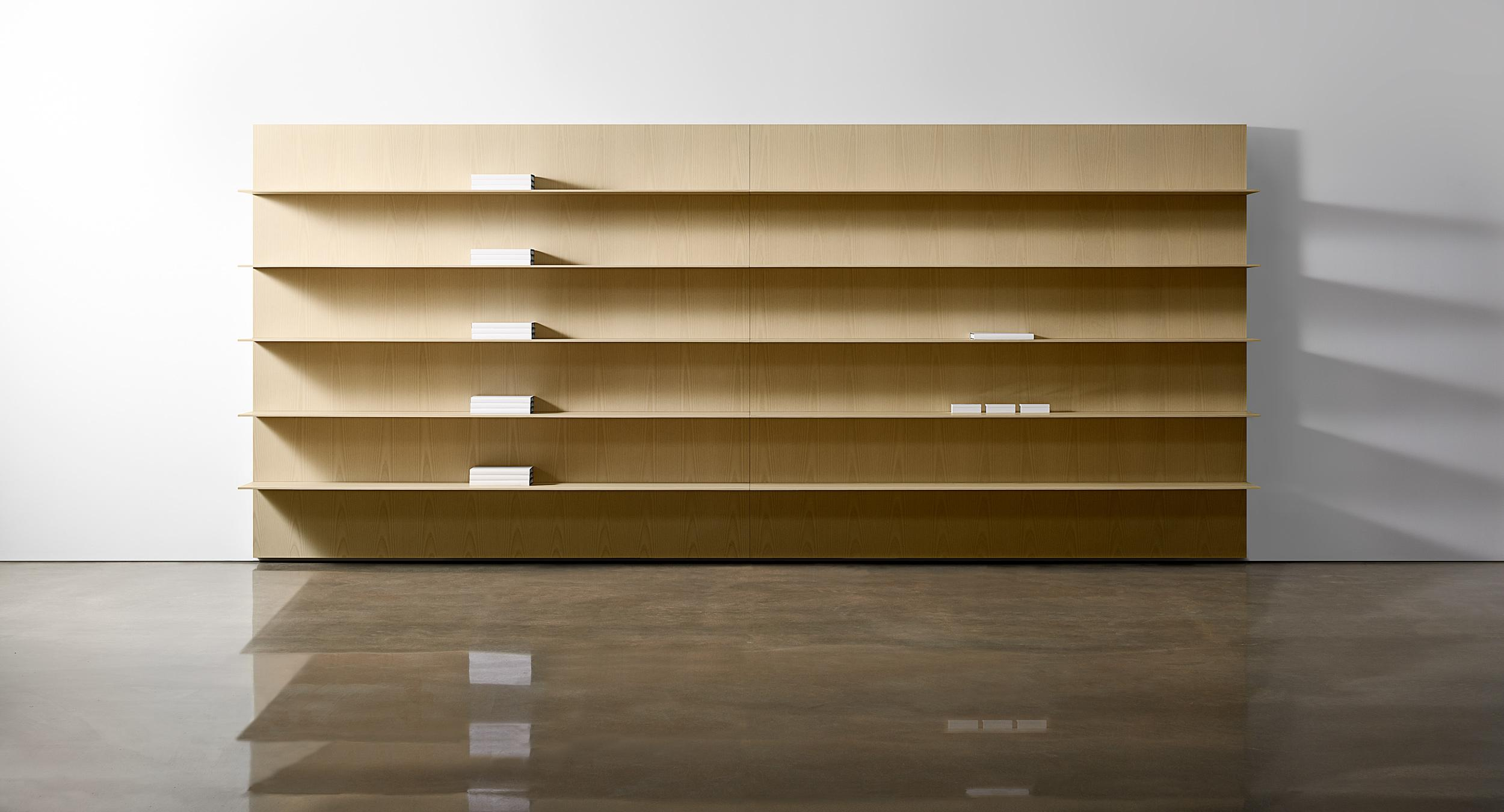 Defy gravity with patented thin wood shelving.