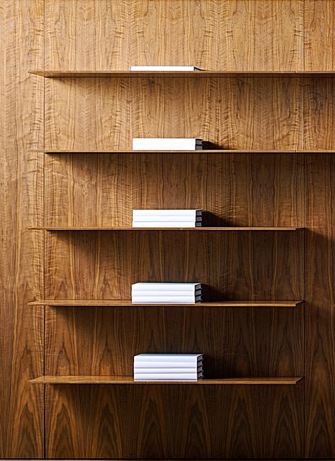 "Patent-pending innovation allows amazingly thin 3/8"" thick shelves to support full loads in any wood finish or painted hue."