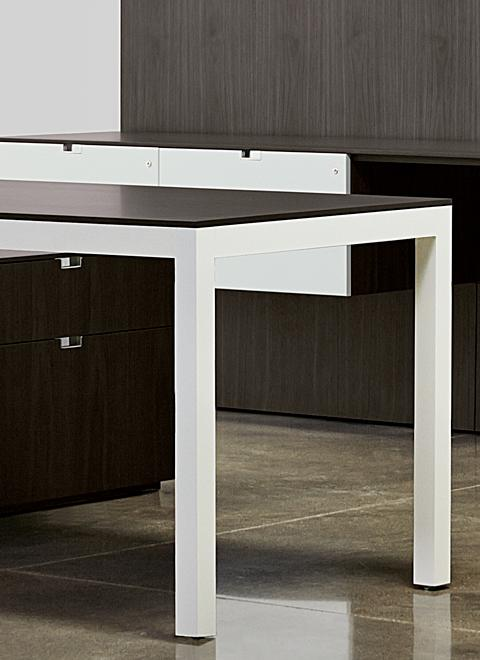 "3/8"" thick expressed surfaces and 2"" square legs result in a beautifully-proportioned, minimal aesthetic with truly timeless appeal."