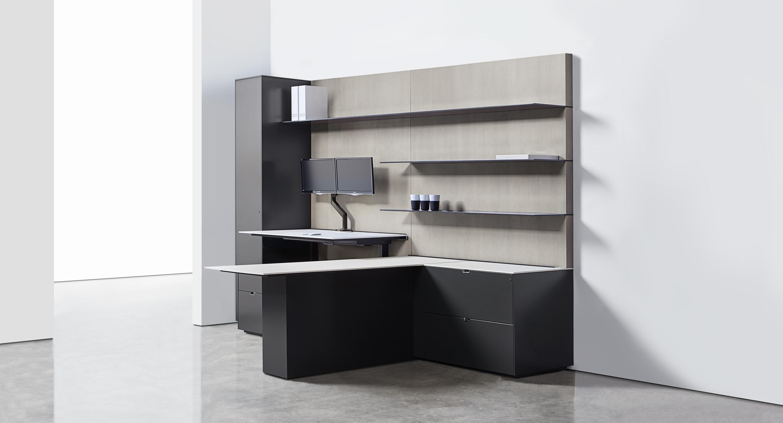 Adjustable-height surfaces combine with clean lines for integrated functionality.