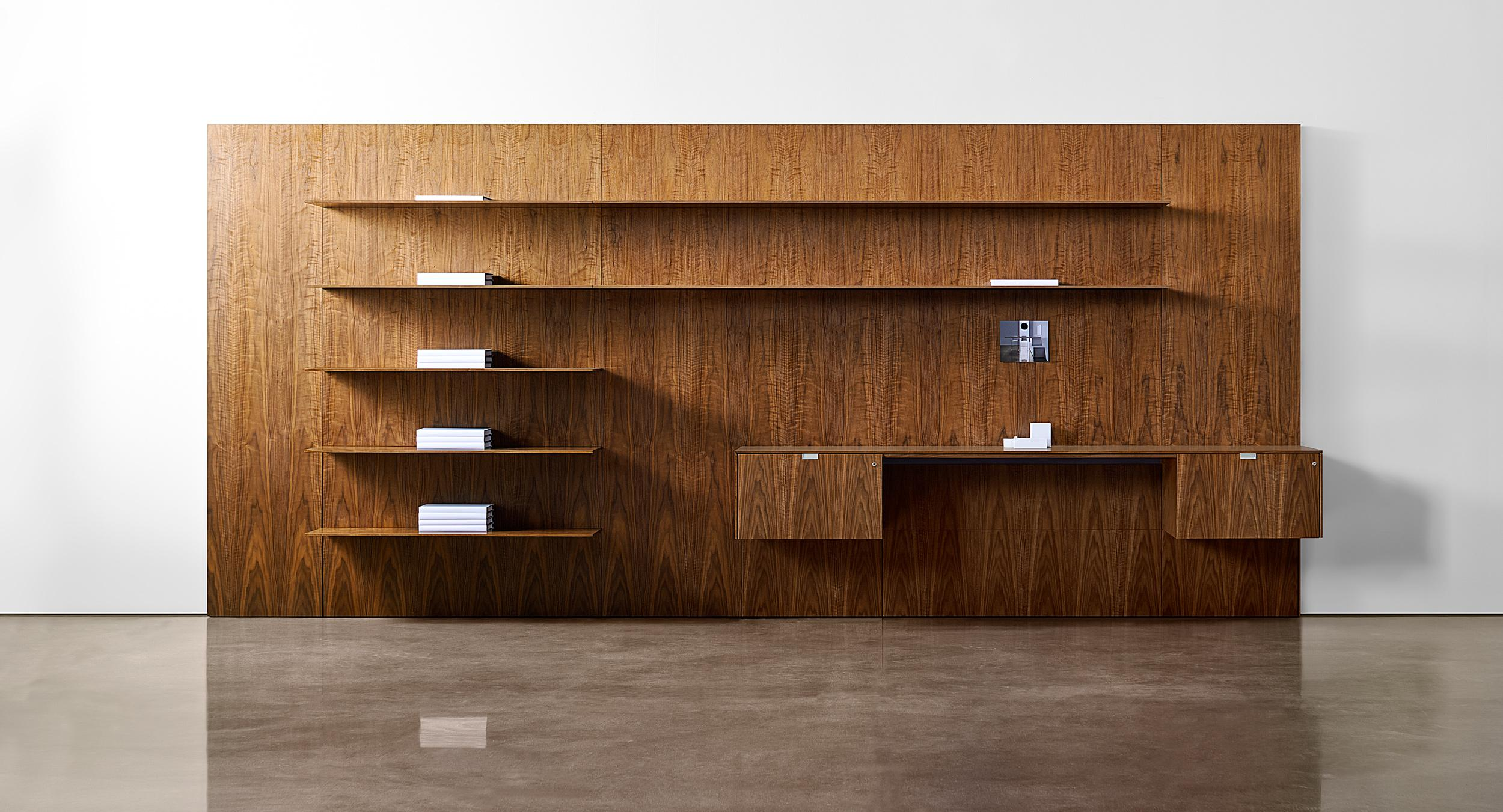 Patented thin wood shelves and elevated storage are amazingly robust and light in scale. Patent No. US9955787B2