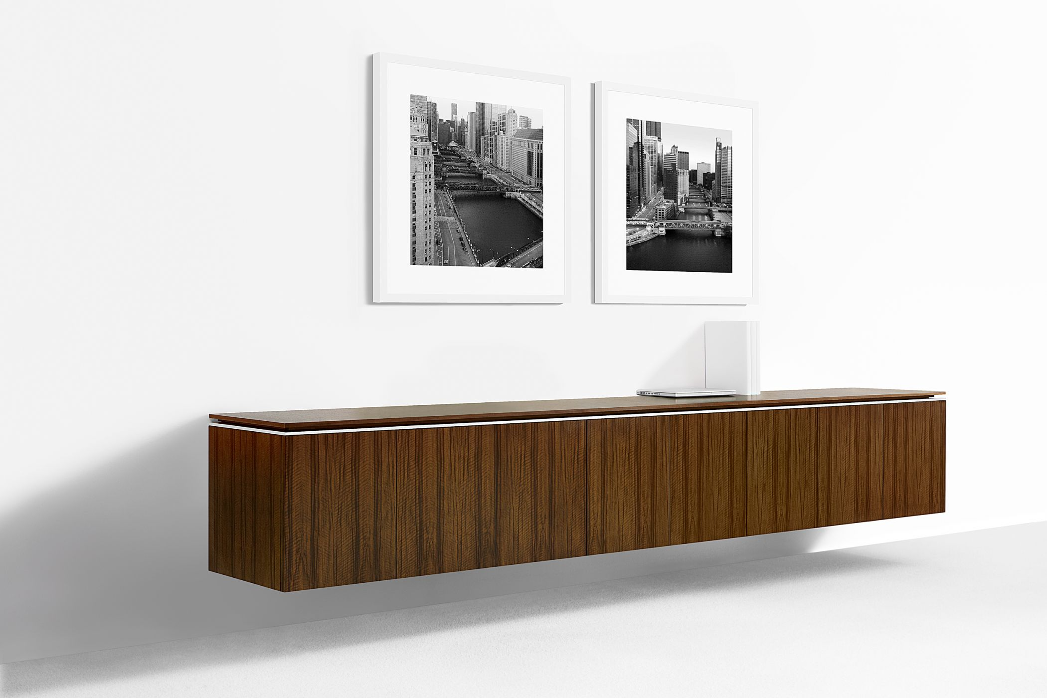 Mesa floating credenzas are mounted directly to your structural wall.