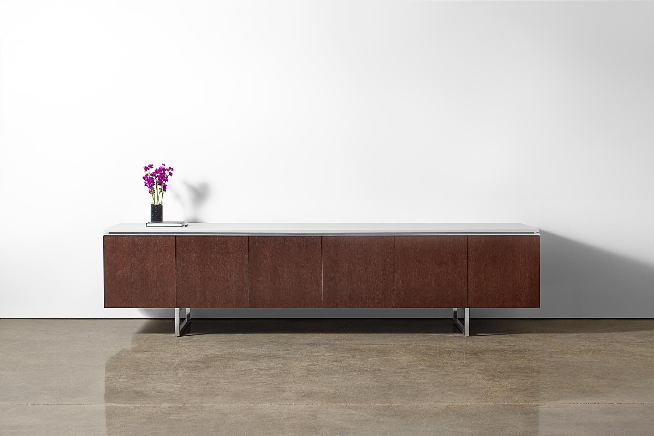Mesa's Signature Credenza can be specified in a full range of materials, finishes, and sizes.