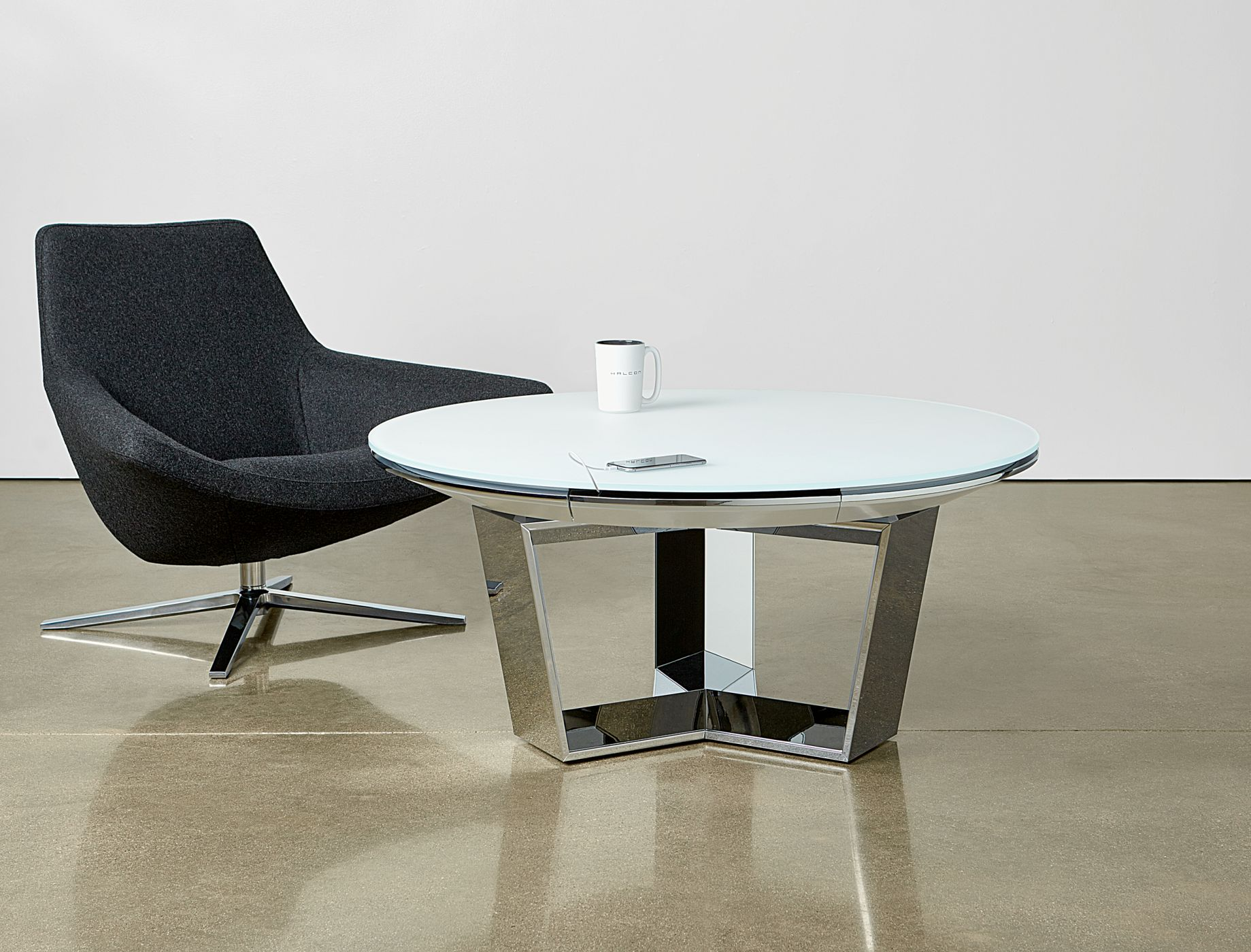 Mesa occasional tables deliver innovative beauty and connectivity to informal meeting spaces.