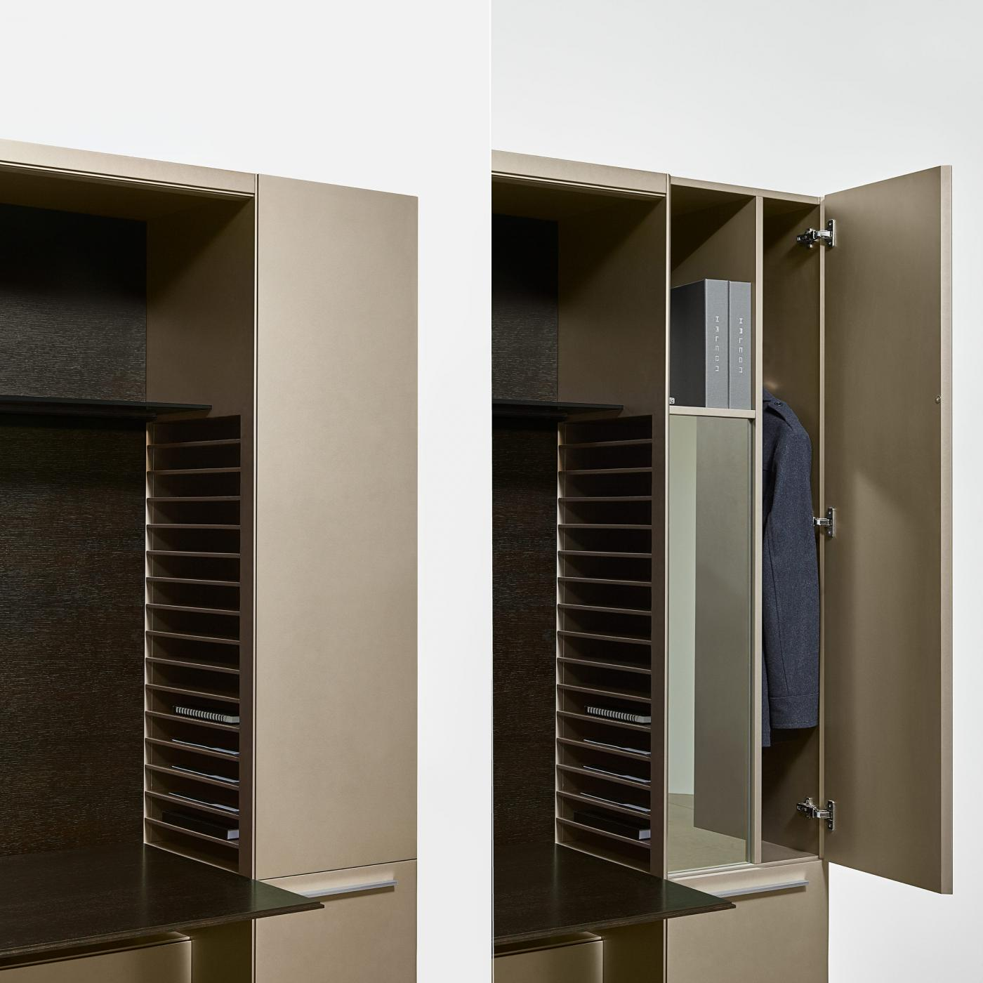 Ultra-efficient storage with discreet project filing, wardrobe, and mirror.
