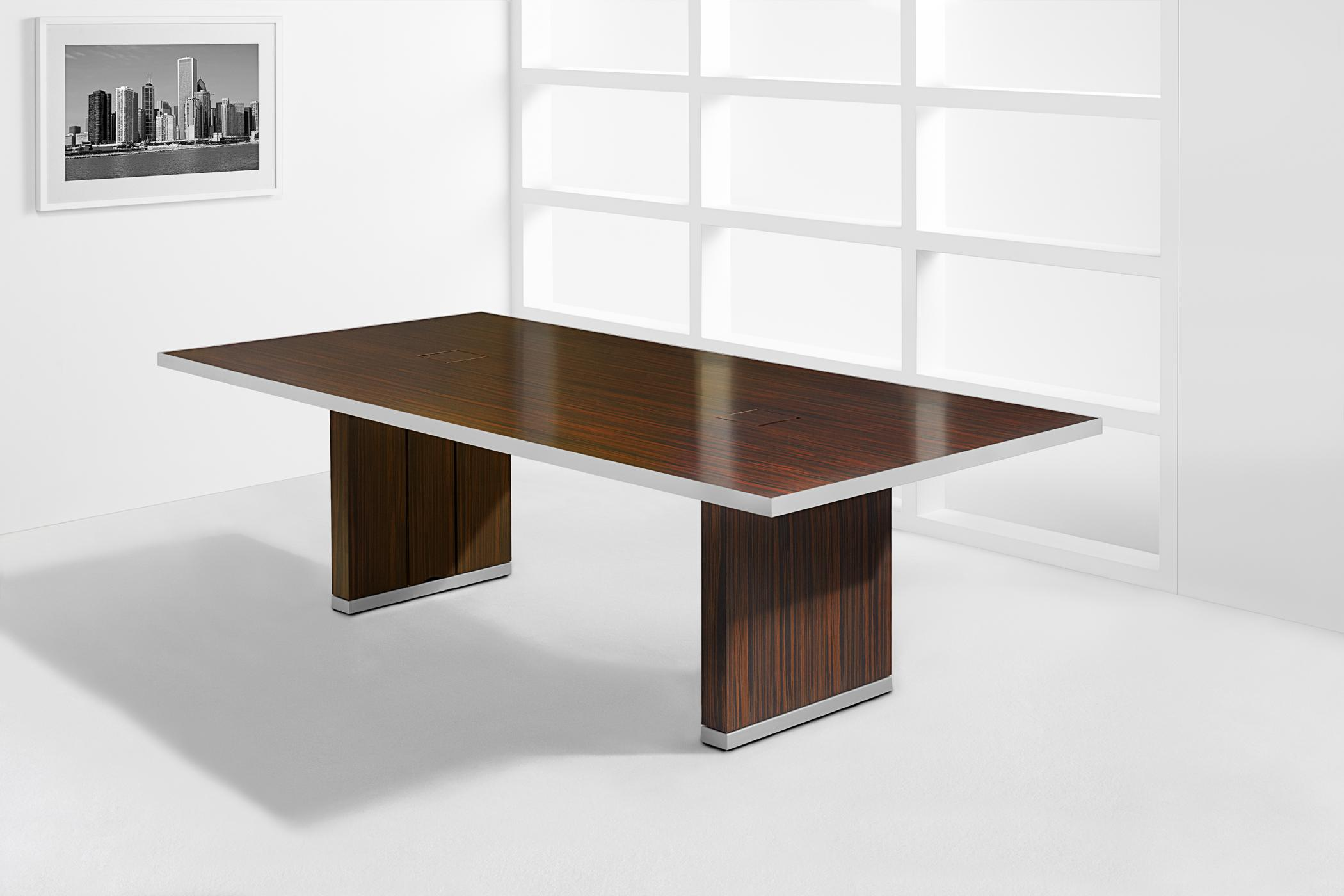 Mobile tables are available in any wood veneer and a range of metal finishes.
