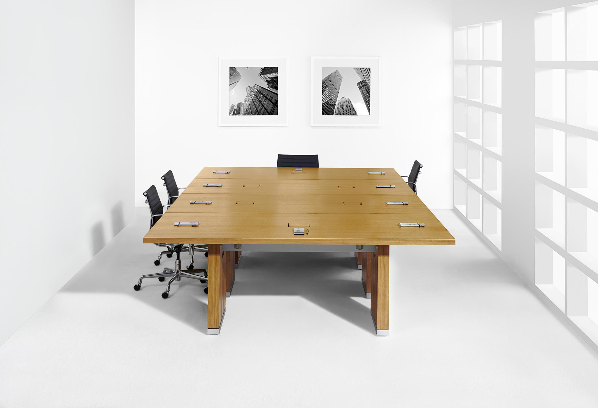 Reconfigure tables quickly and easily with thoughtful table ganging, leveling, and power distribution.