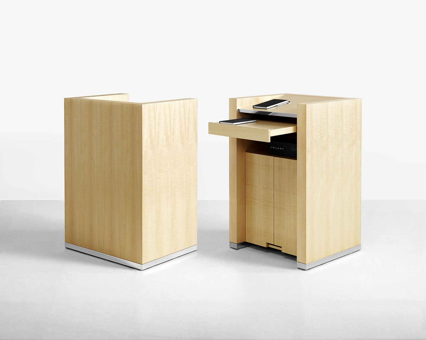 Mobile lectern with storage and pull-out tray.