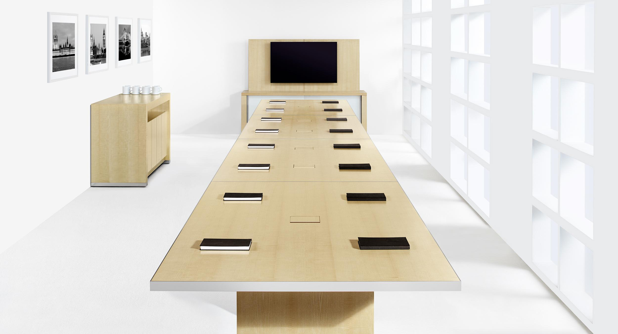 Motus pairs uncompromising aesthetics with an innovative and intuitive interface to redefine reconfigurable tables.