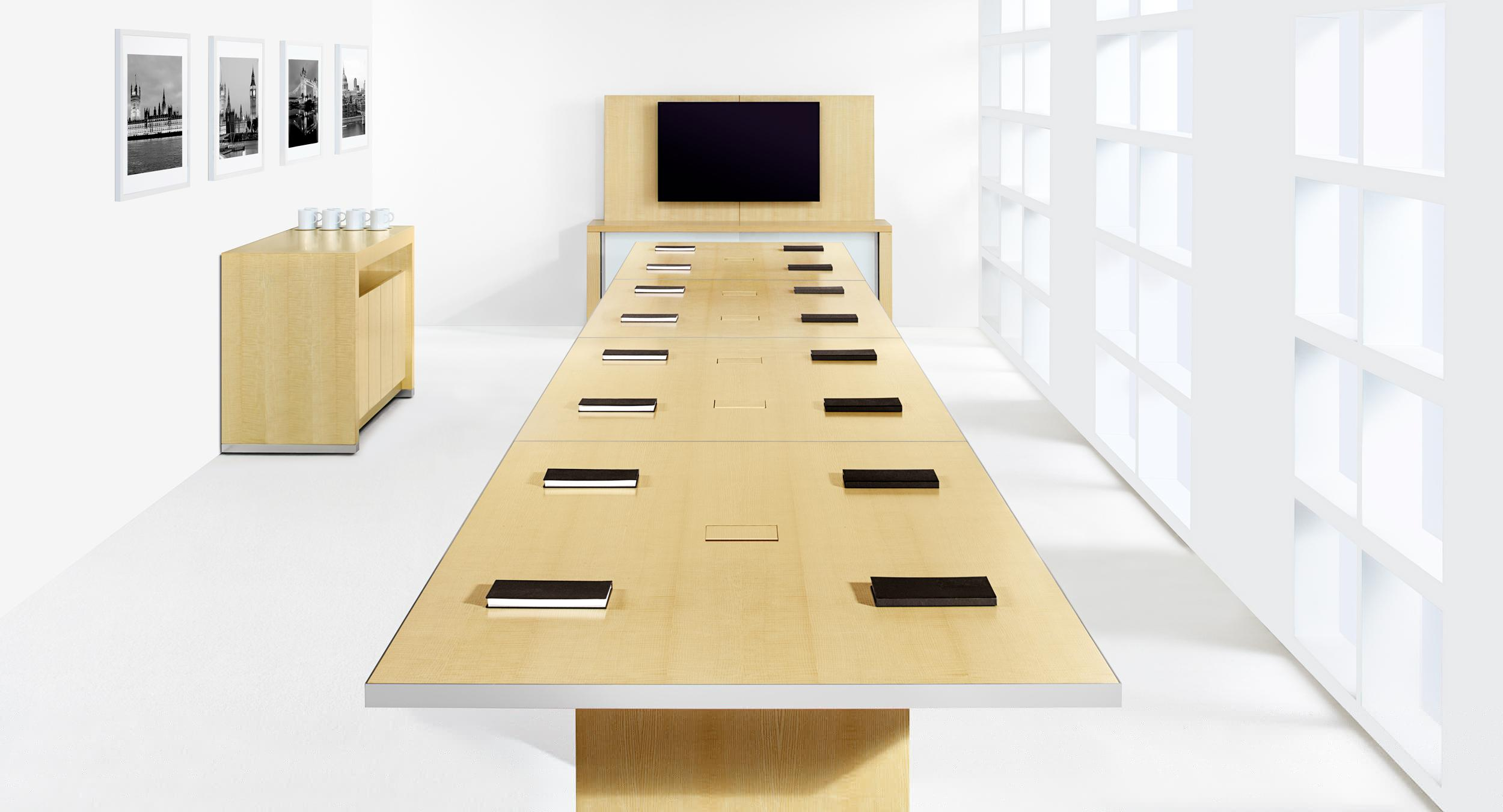 Motus pairs uncompromised aesthetics with an innovative and intuitive interface to redefine reconfigurable tables.