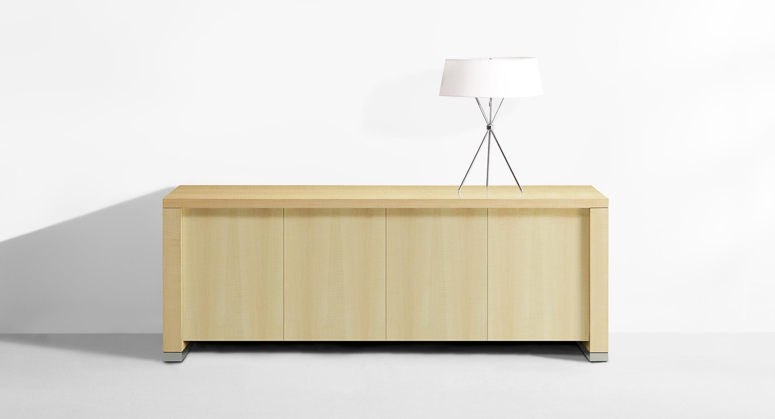 Motus mobile credenzas are available in multiple configurations and finishes.
