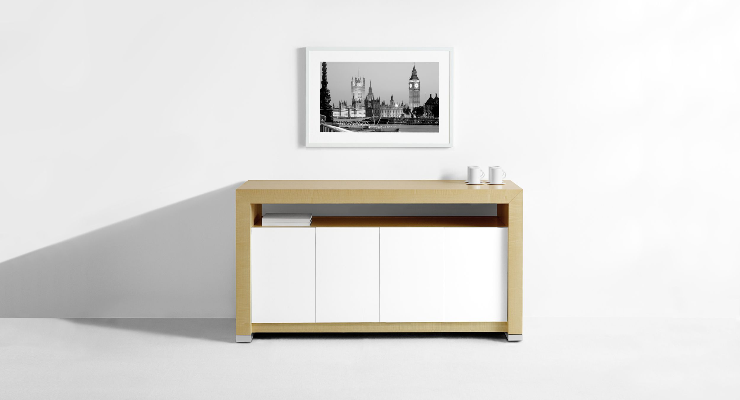 Motus Serving Credenzas are mobile and feature door access from the front and back.