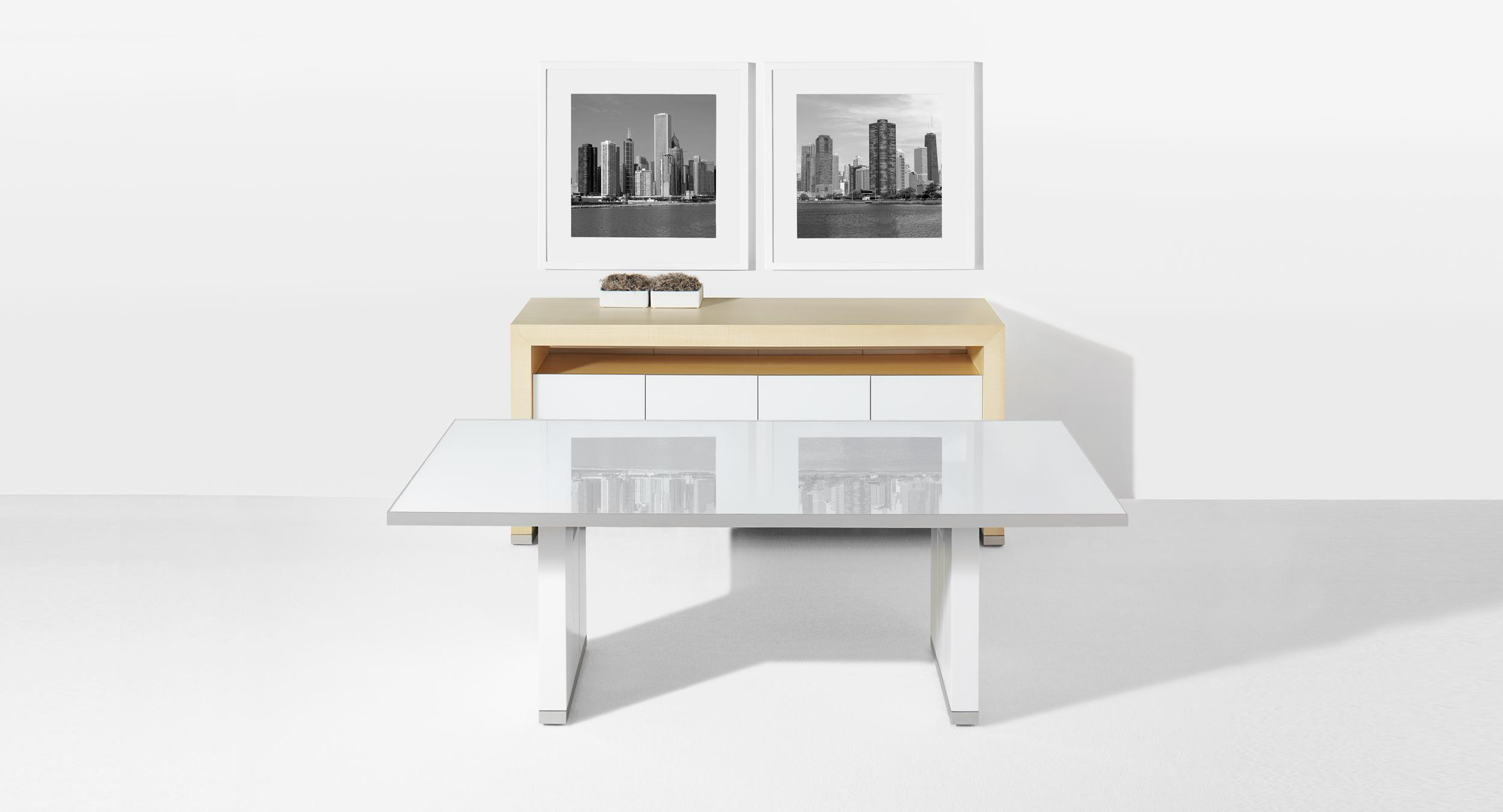 Mobile glass table and serving credenza