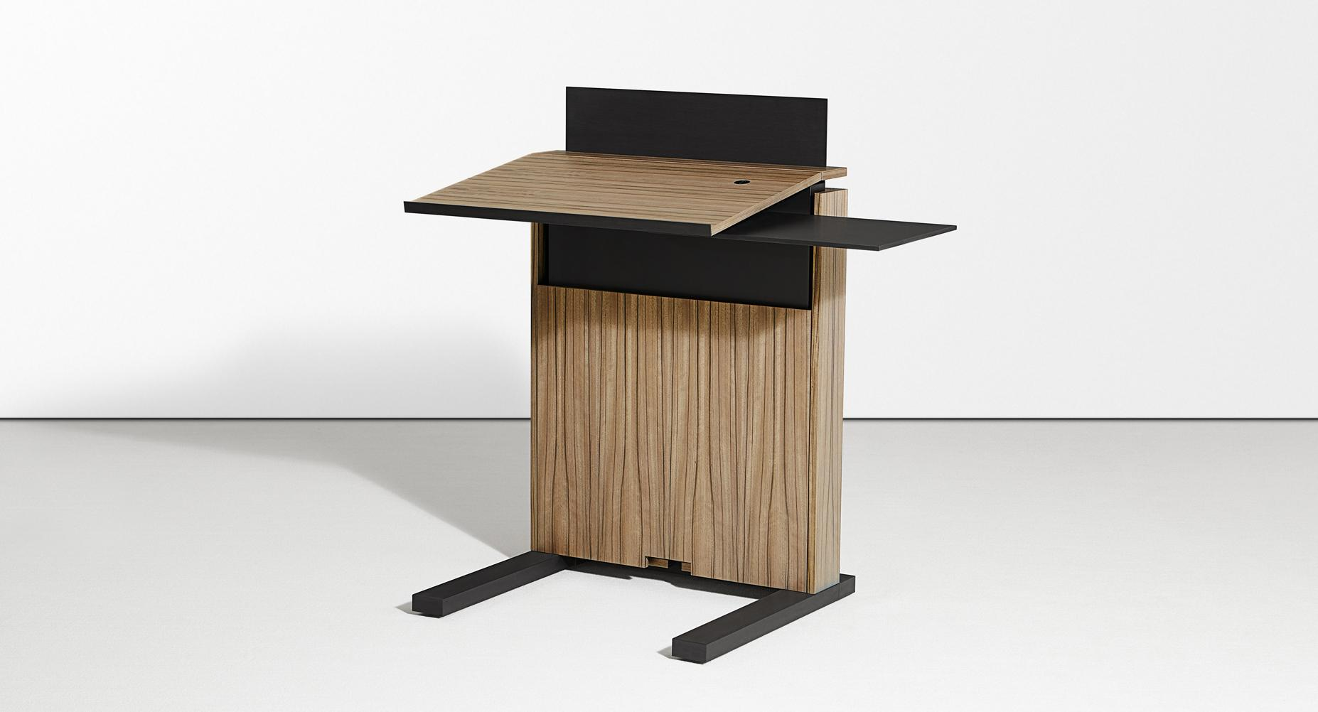 The adjustable-height mobile lectern is available with an optional swivel shelf.