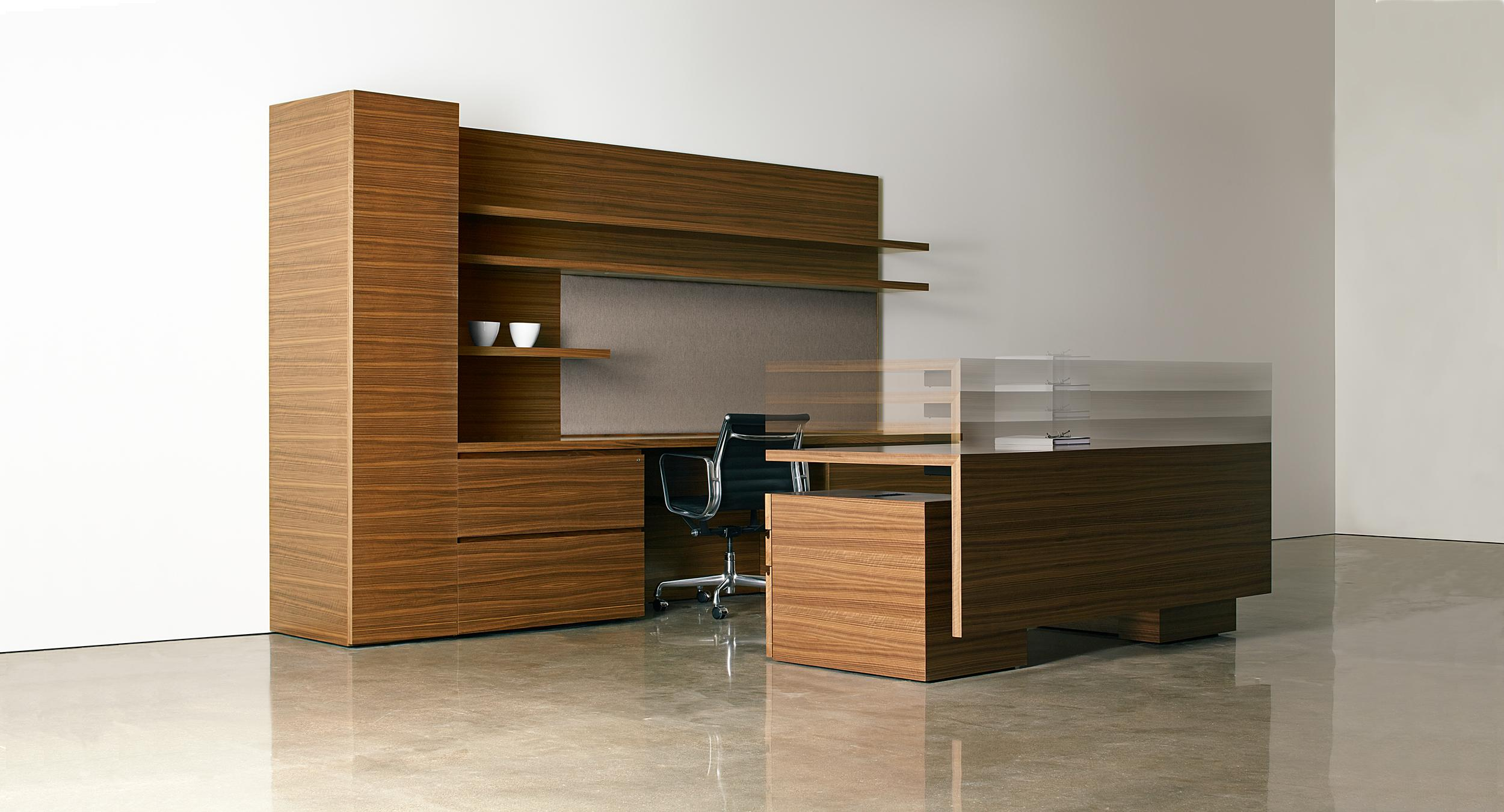 New Millennia offers the first beautifully proportioned adjustable-height wood desk.