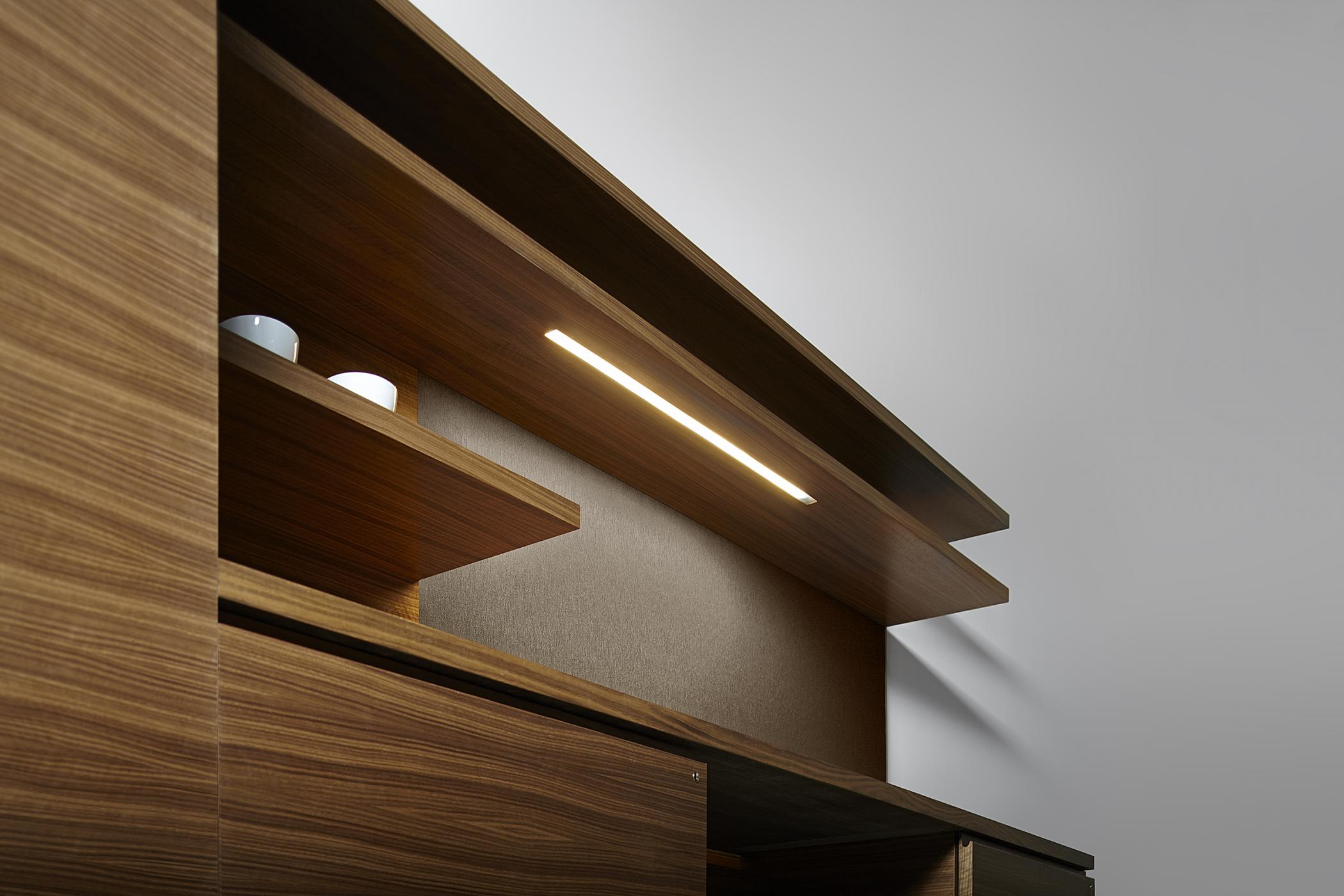 Integral recessed LED lighting is available for continuous floating shelves.