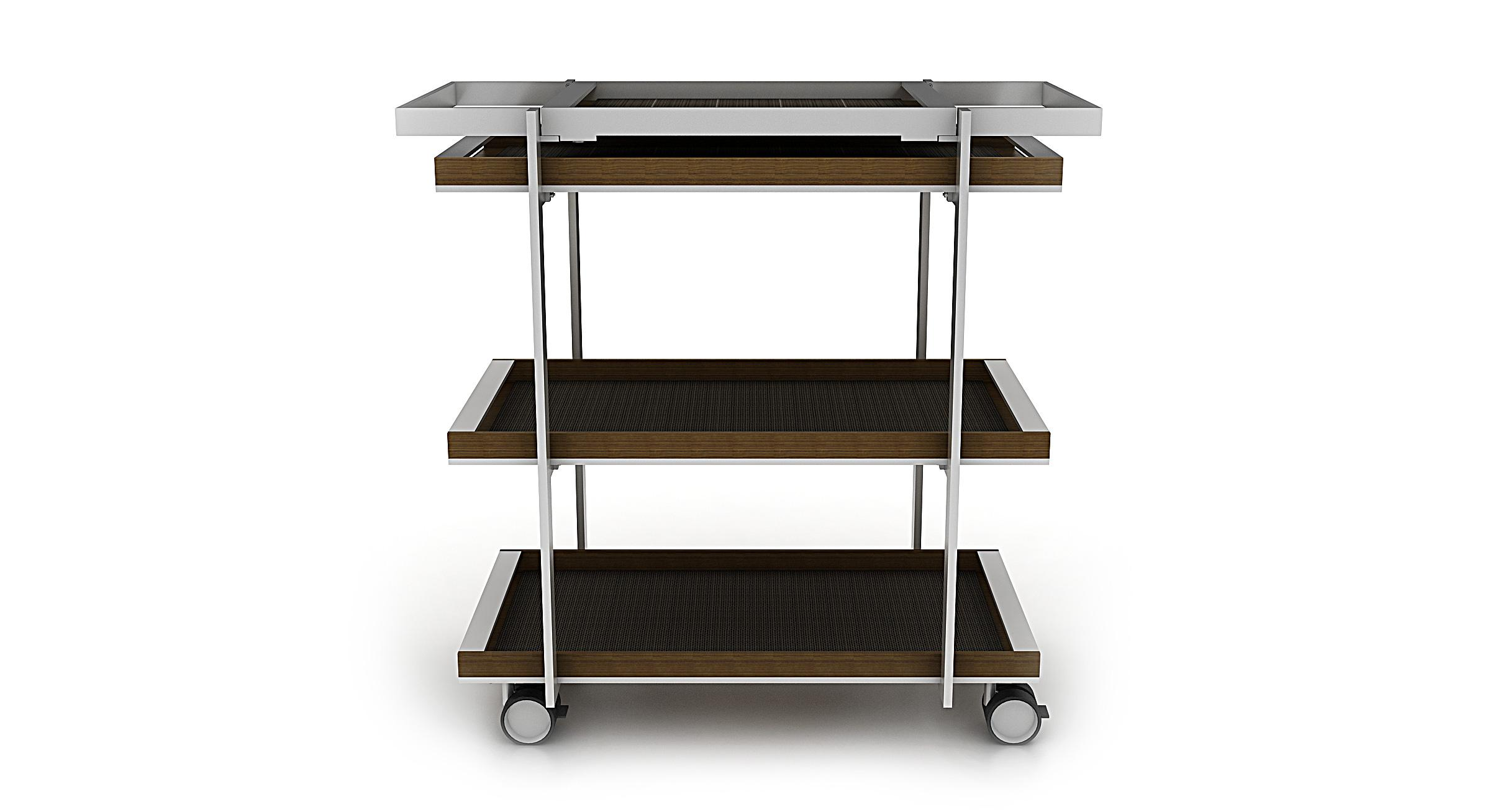 Porter provides three generous shelves and features a distinctive removable tray to serve fine design and function in equal measure.