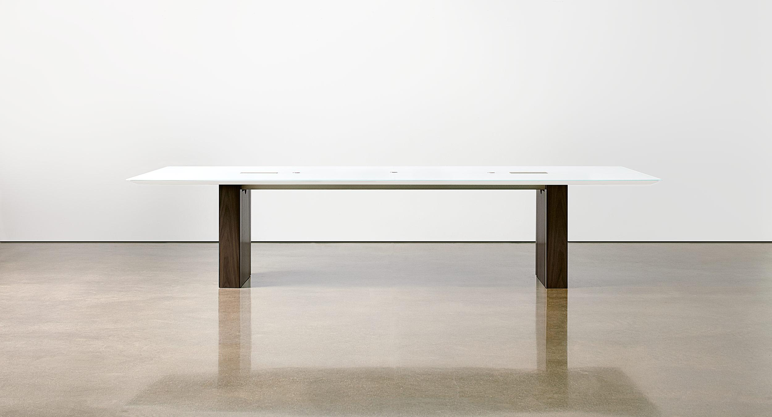 Rectangular glass table with Panel base