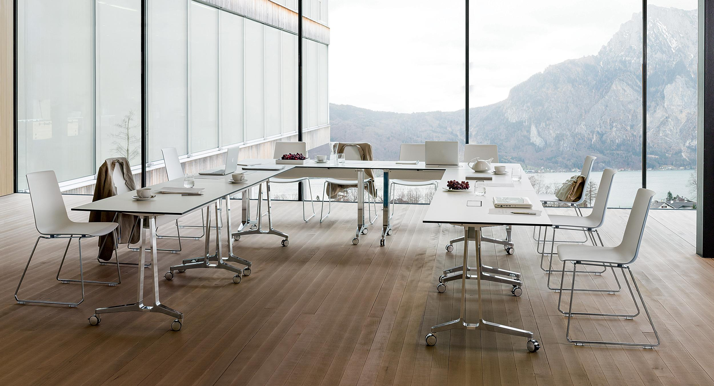 Skill C-leg tables are ideal for training and other single-sided seating configurations.