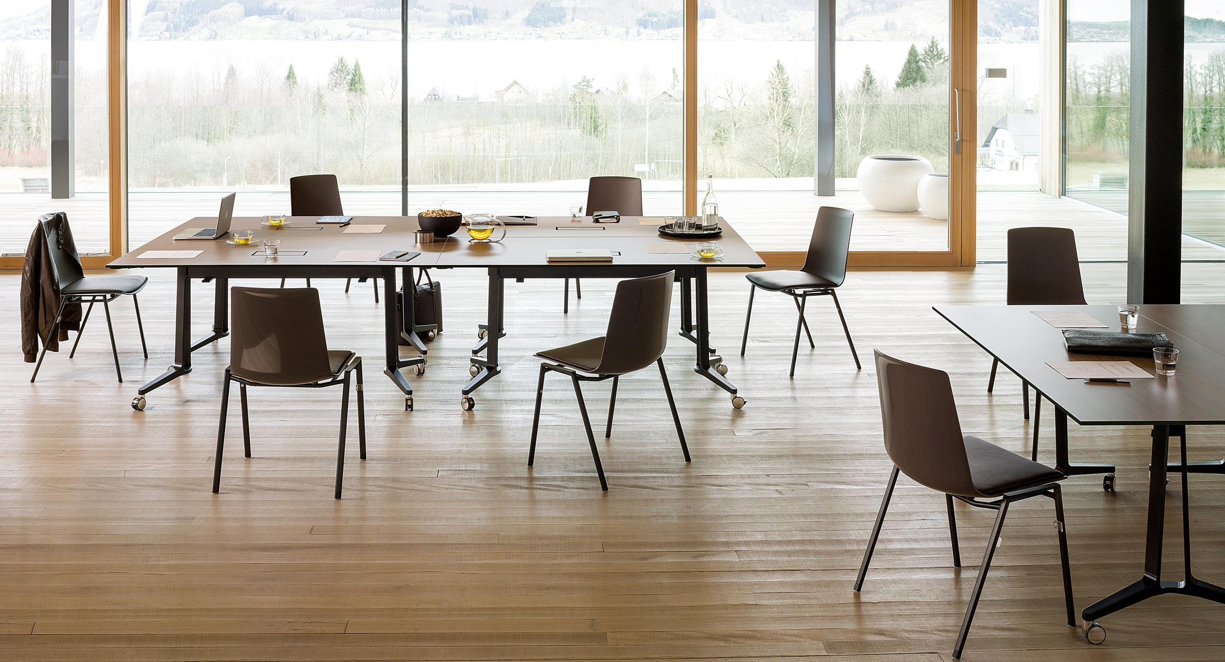 Skill V-leg tables provide versatility for multiple table configurations.