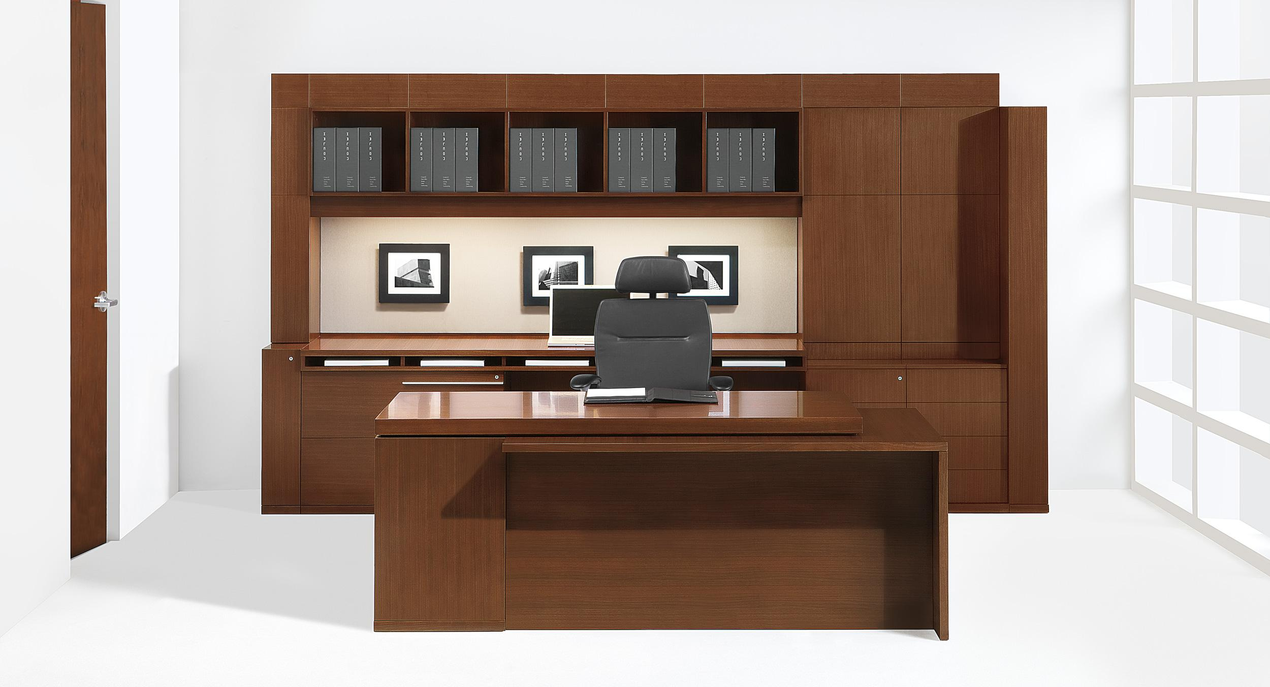 The Stria Signature Desk is anchored by an asymmetrical workwall showcasing an extensive range of storage components.