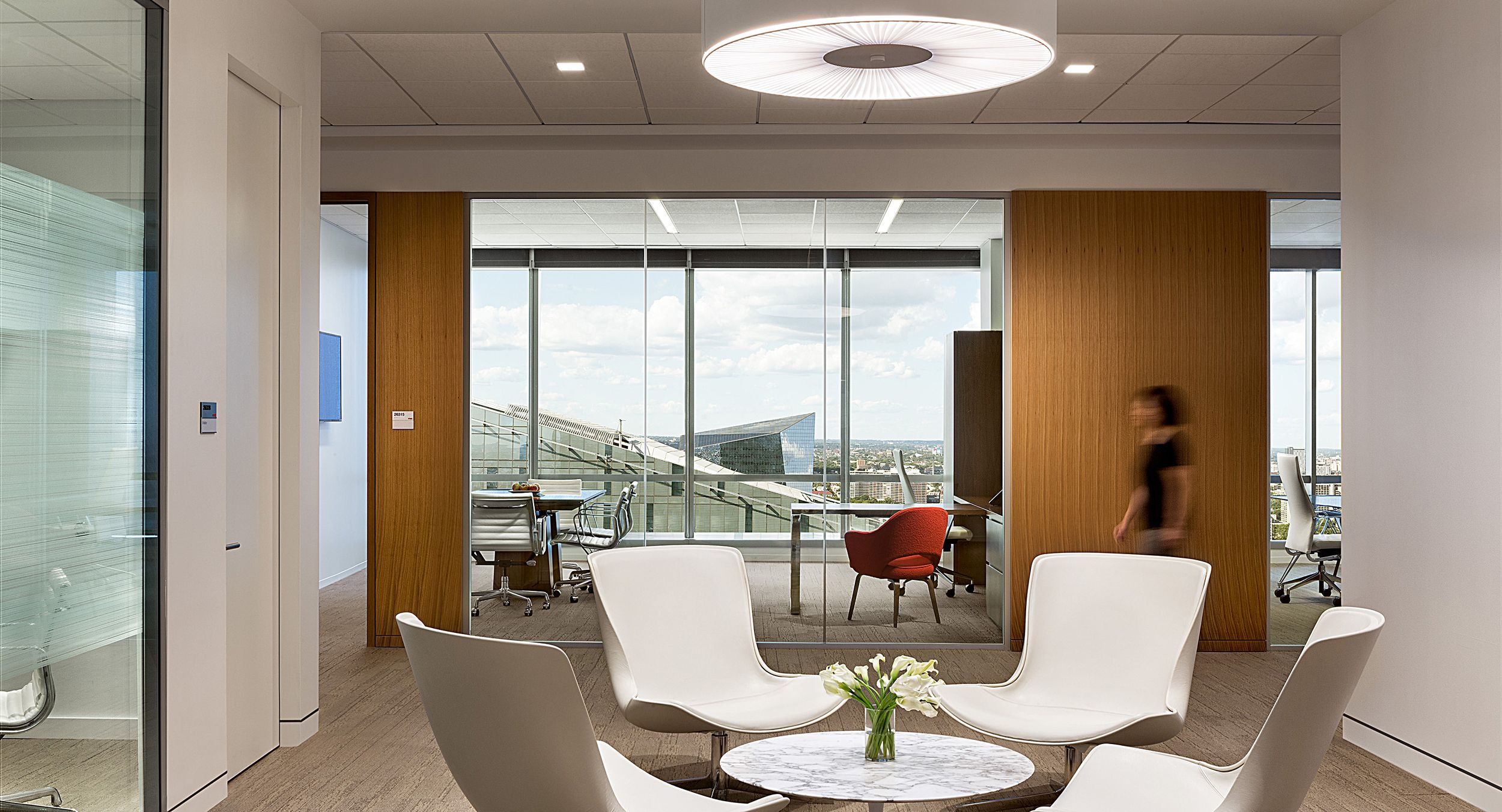 Spectacular views and a New Millennia private office paired with a Mesa conference table.