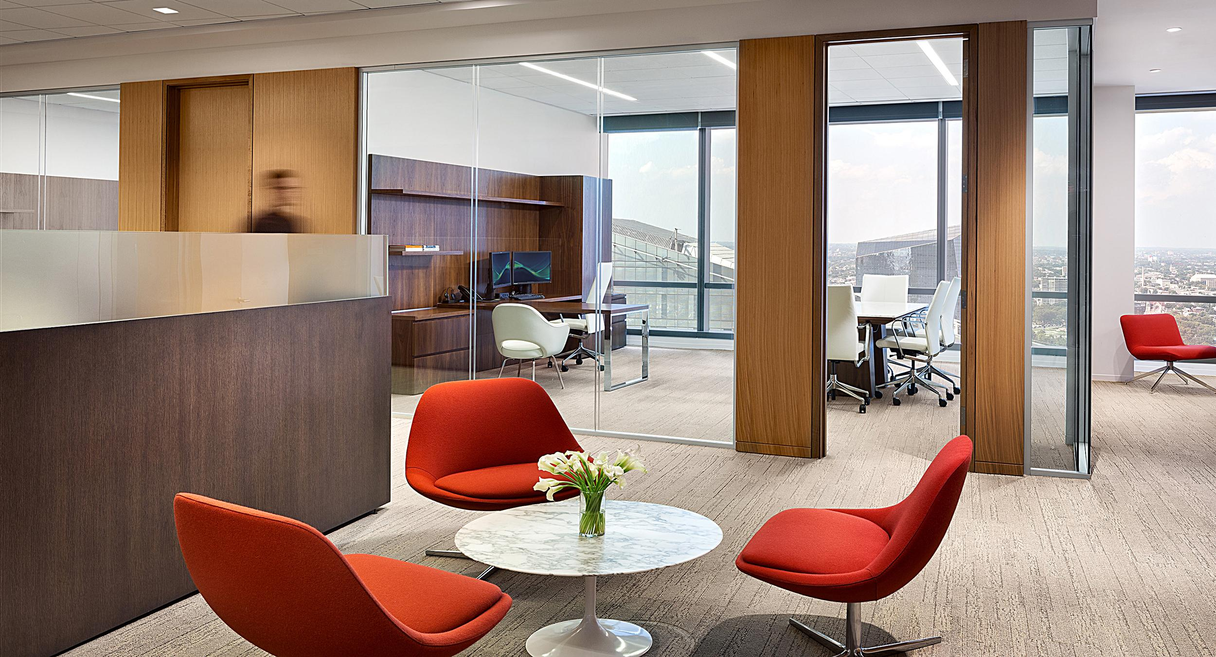 New Millennia was selected for open and private office solutions, complemented by Mesa meeting tables.