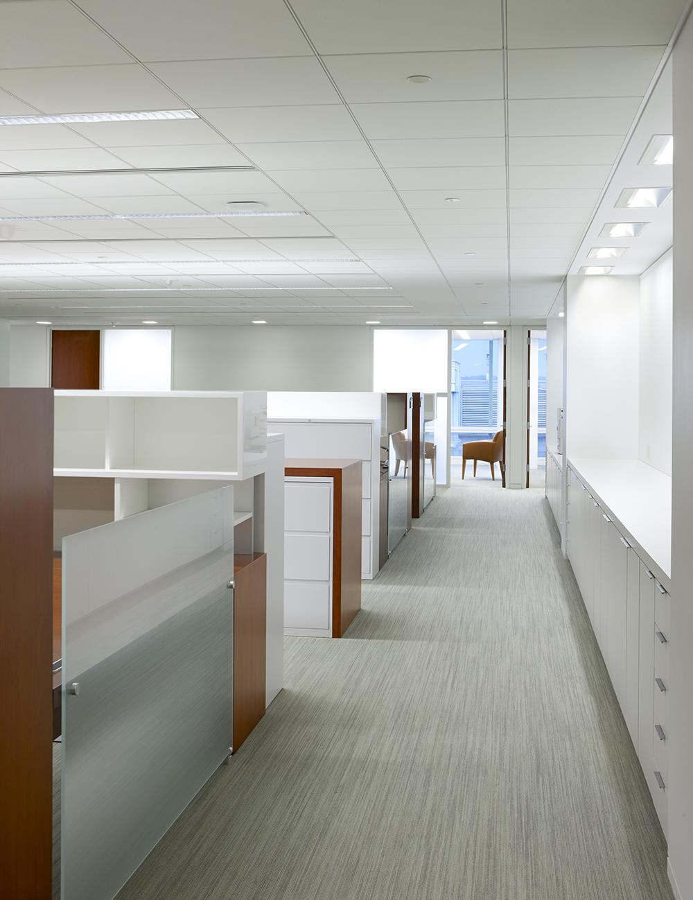 Etched Glass, Brushed Aluminum, and Fabric complement the seamless, compound mitered casework.