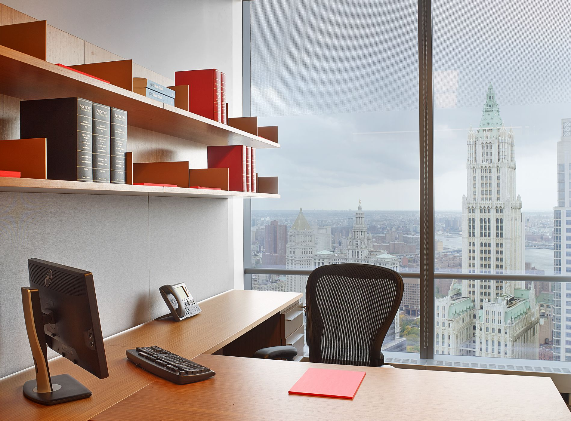 Associate offices feature  floating open shelves.