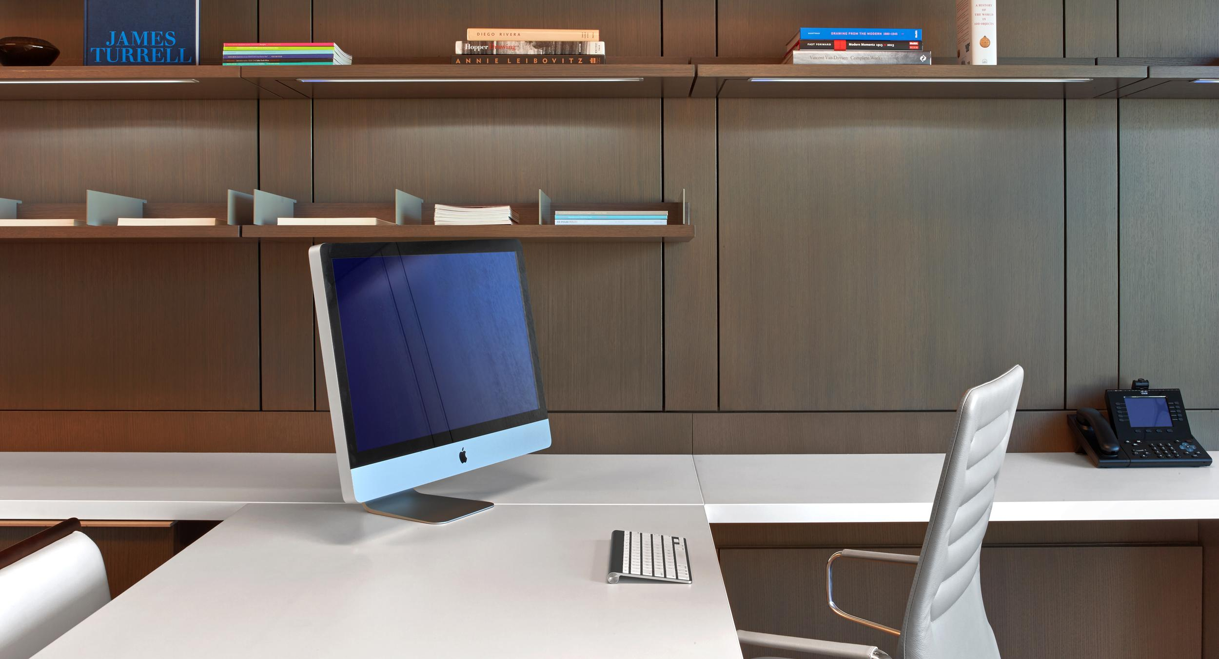 Open shelving is fully-adjustable with integral LED lighting.