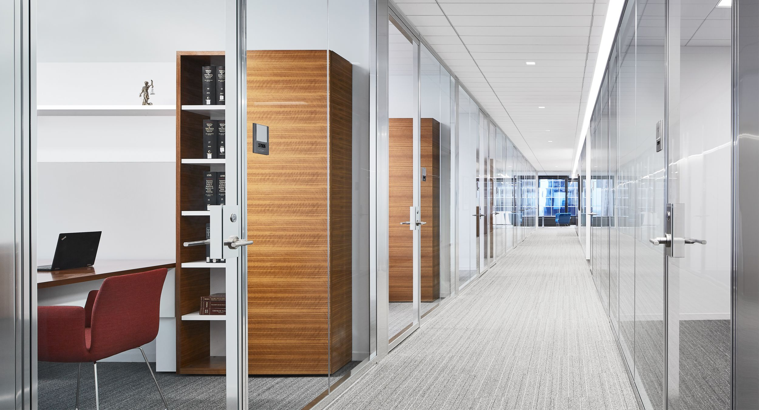 NEW MILLENNIA private offices feature grain-matched Quarter Cut Walnut and are designed to perfectly meet user needs.