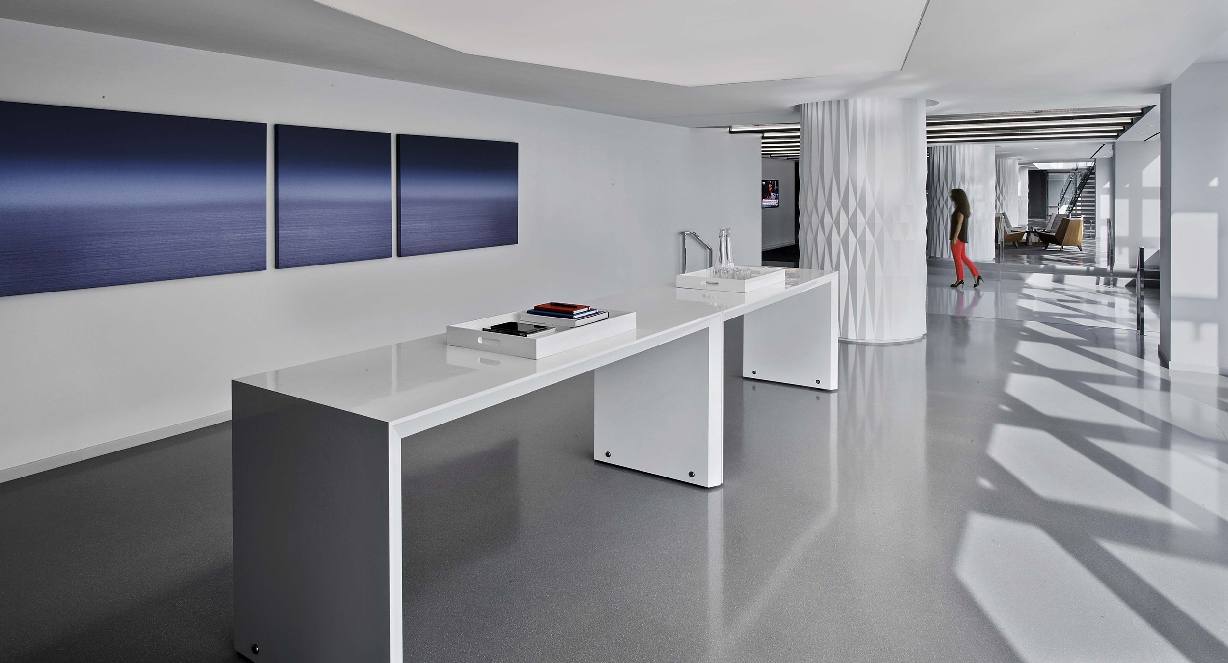 HUGO tables were custom-designed to meet the desired project aesthetics.