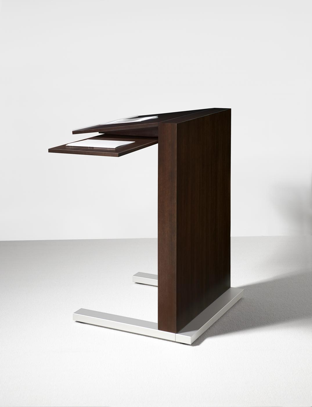 Mobile lecterns are available with an optional swivel shelf.